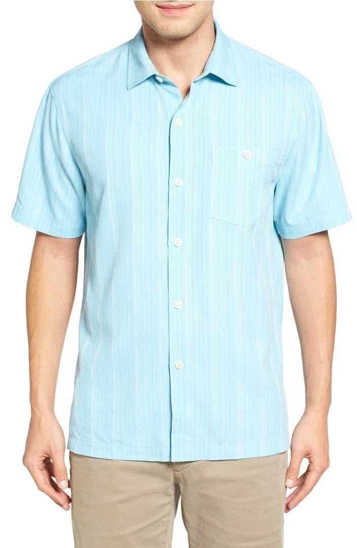 Tommy bahama zaldera stripe silk camp shirt big tall for Tommy bahama short sleeve silk camp shirt