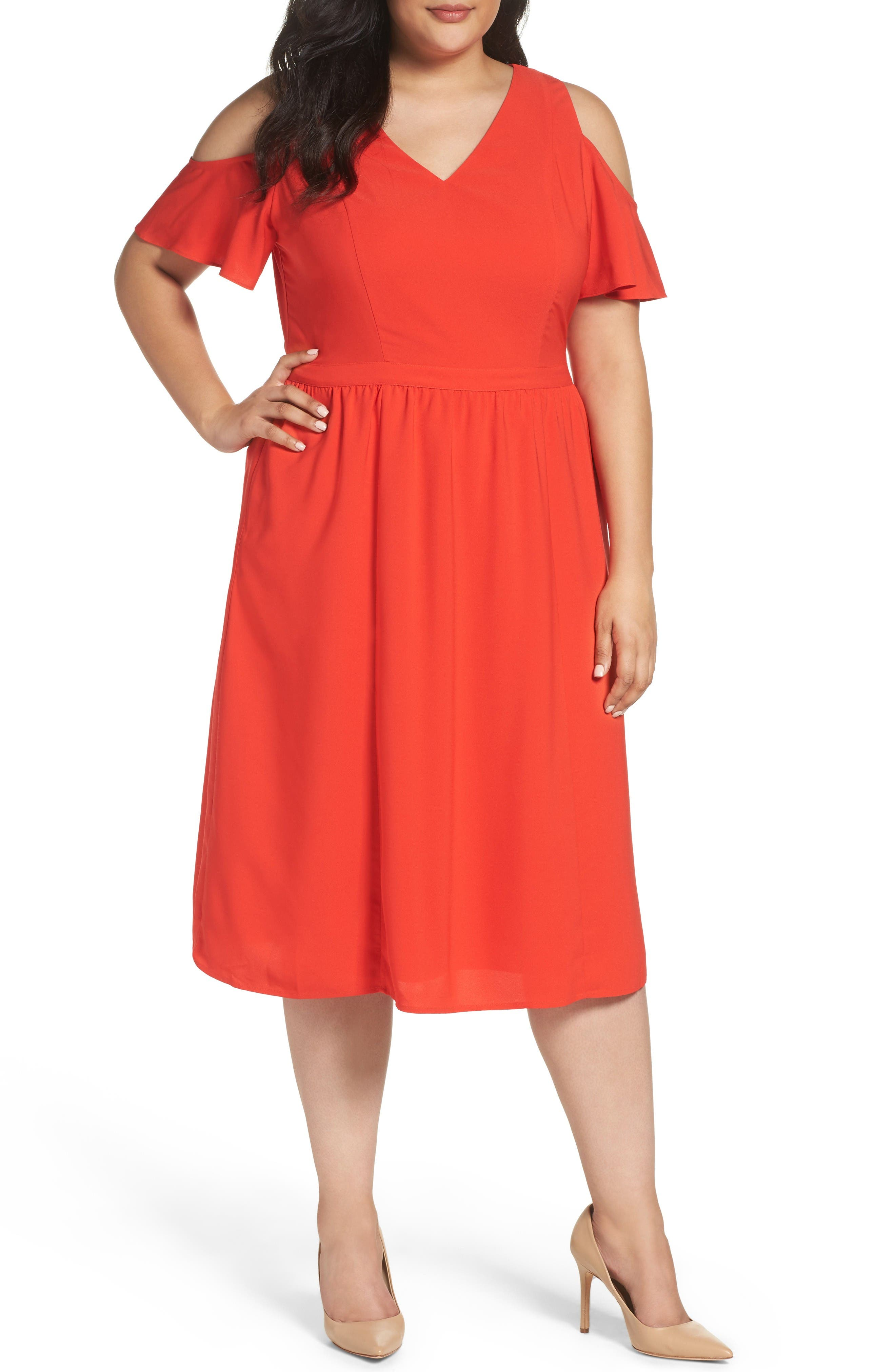 Sejour Cold Shoulder Midi Dress (Plus Size)