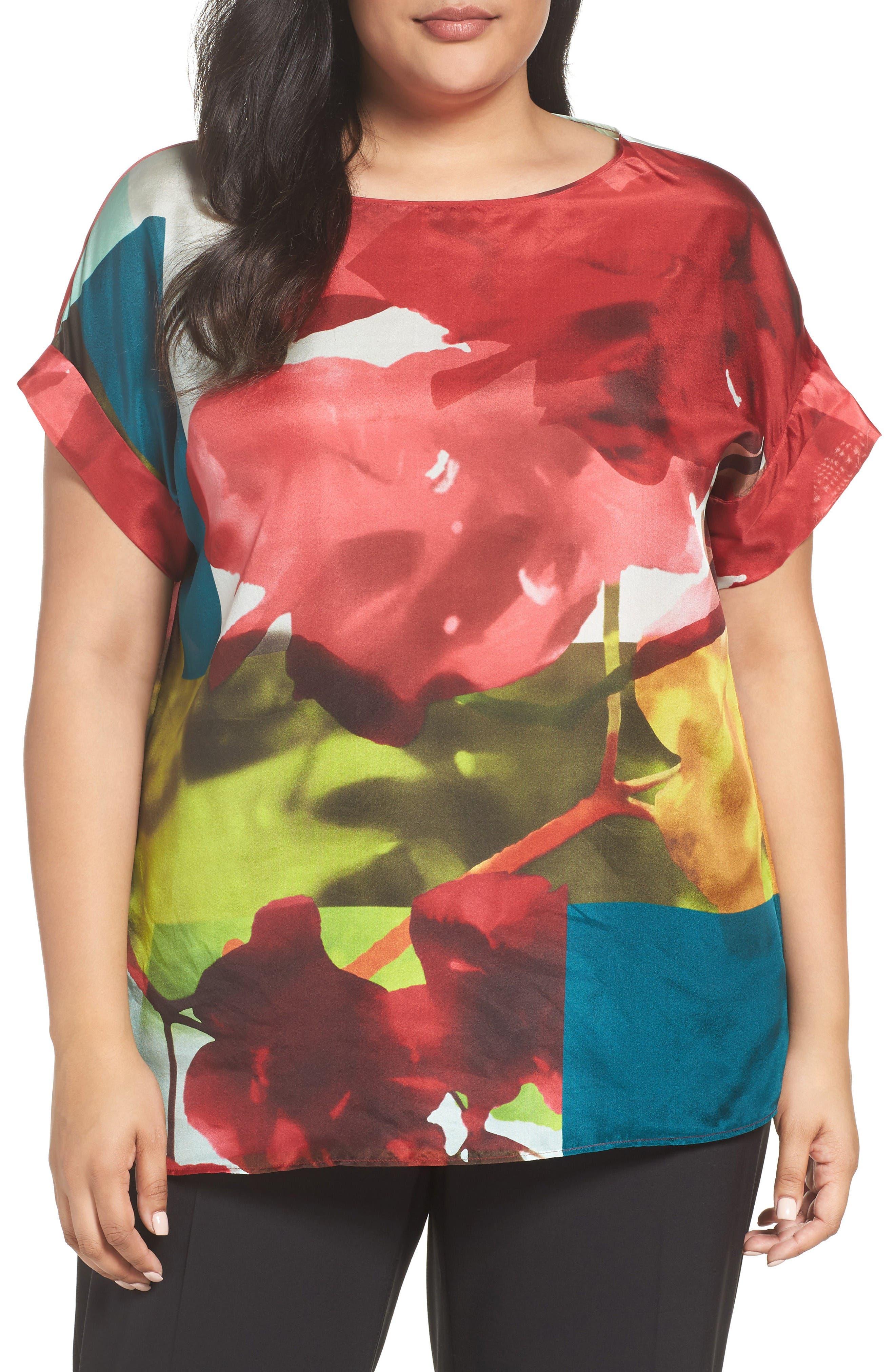Lafayette 148 New York Lori Print Silk Blouse (Plus Size)