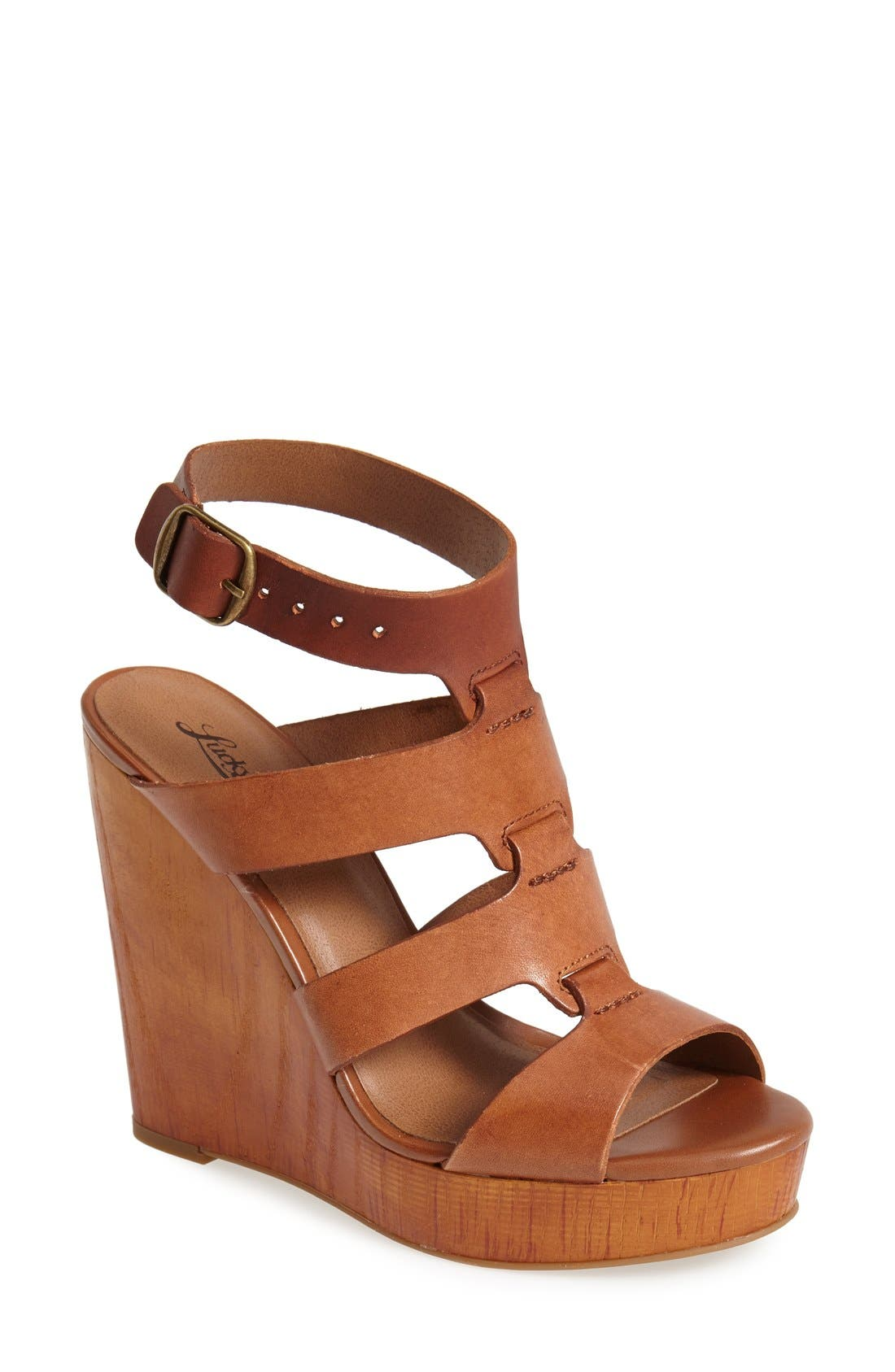 Alternate Image 1 Selected - Lucky Brand 'Roselyn' Leather Caged Platform Sandal (Women)