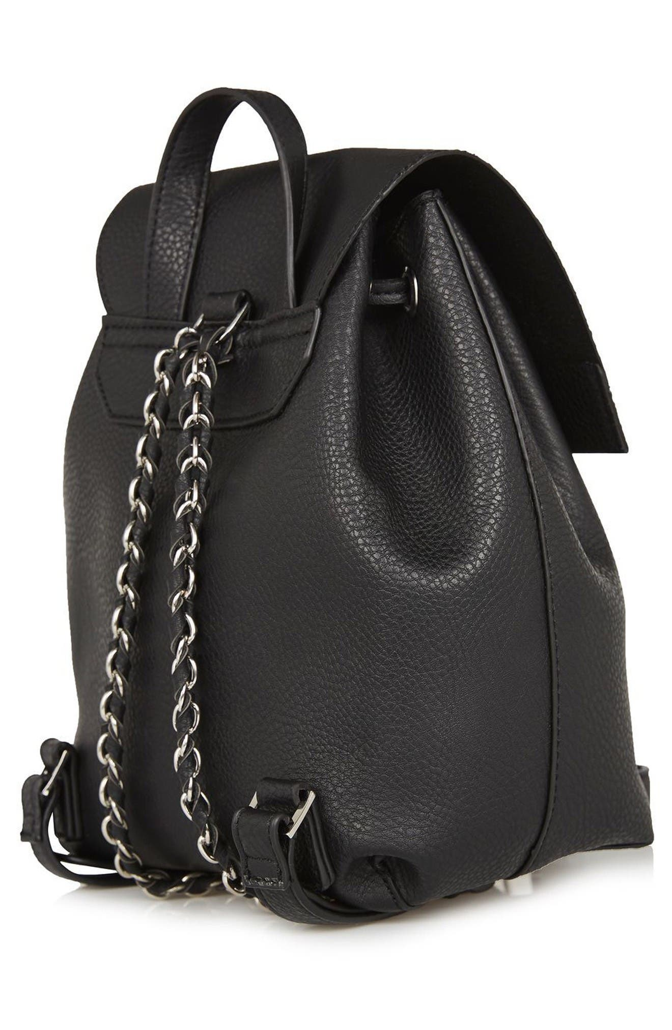 Alternate Image 3  - Topshop Chain Strap Mini Faux Leather Backpack