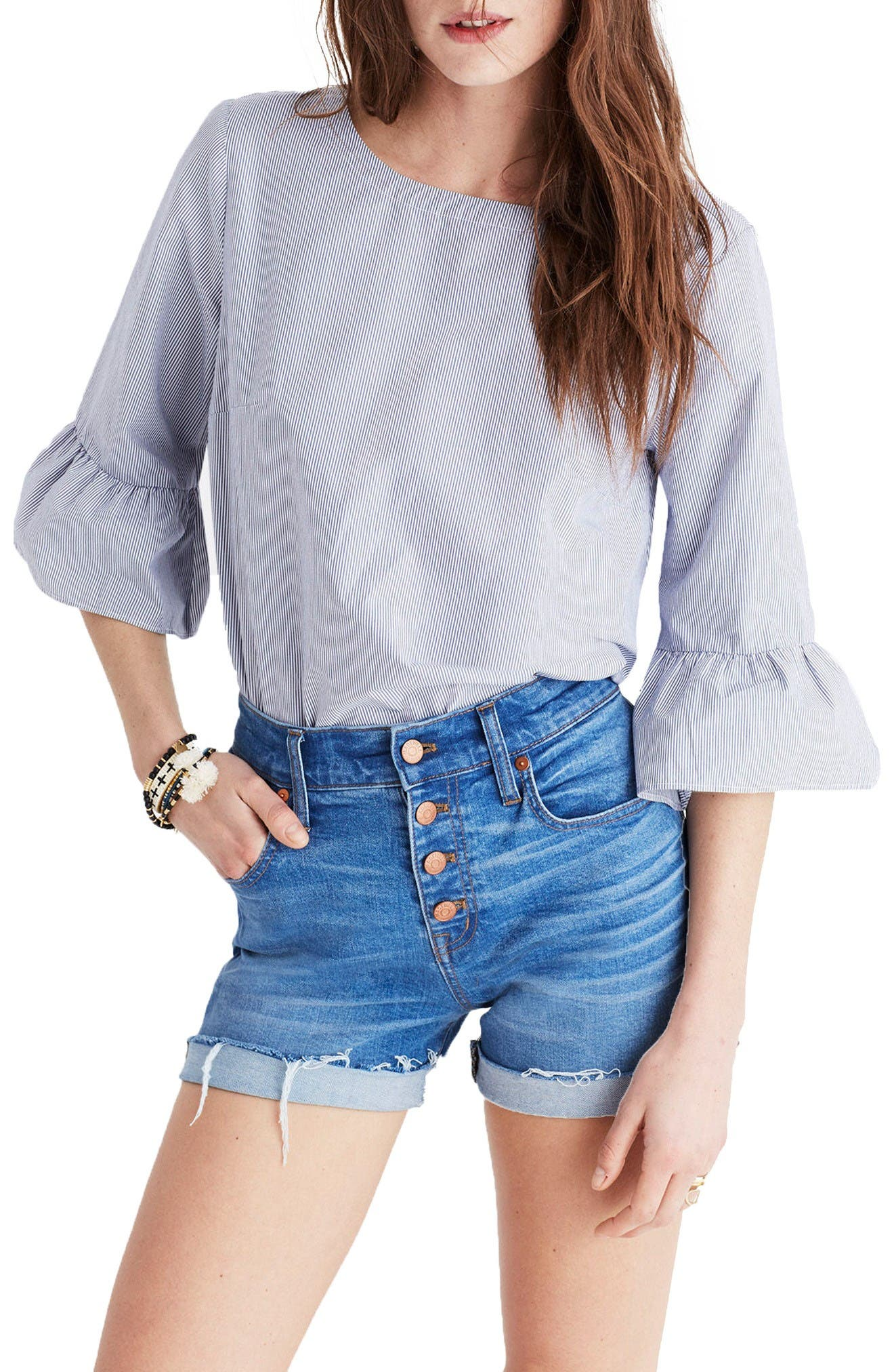 Main Image - Madewell Stripe Bell Sleeve Top