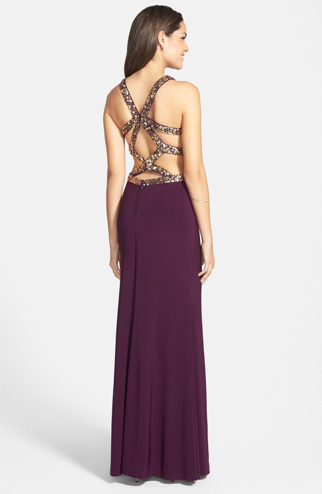 Alternate Image 2  - Hailey Logan Embellished Cage Back Gown (Juniors)