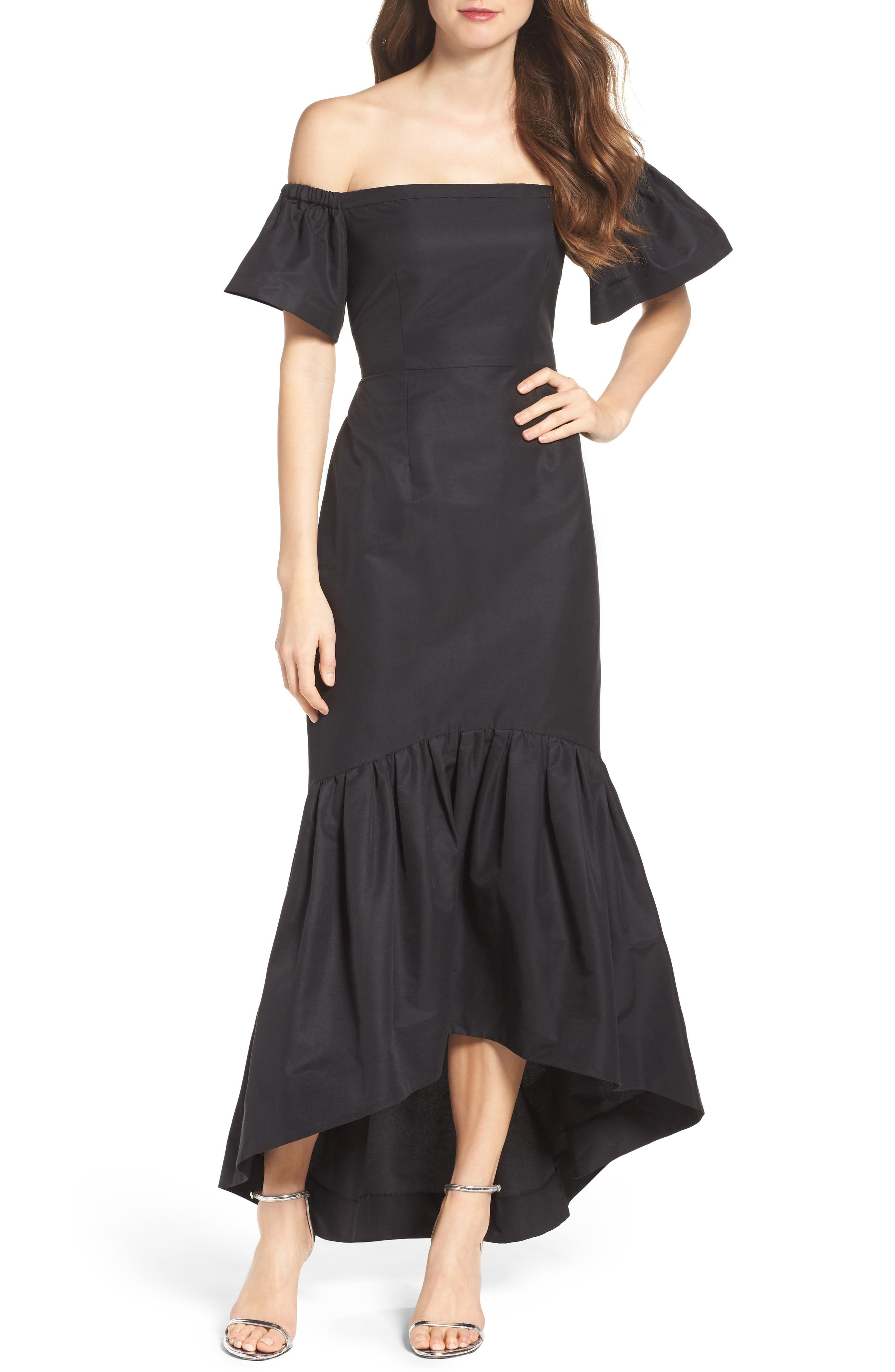 Alternate Image 1 Selected - Jill Jill Stuart High/Low Faille Off the Shoulder Gown