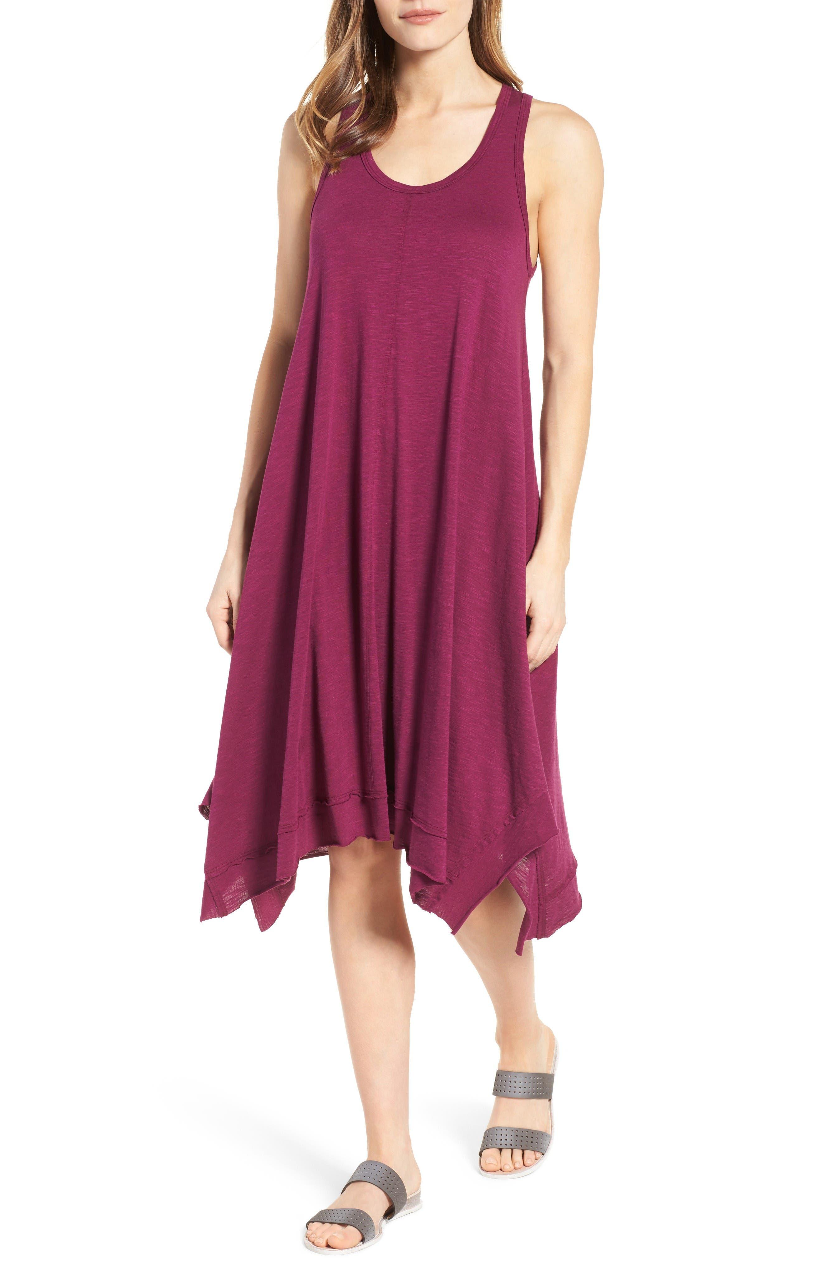 Caslon® Handkerchief Hem Slub Knit Tank Dress (Regular & Petite)