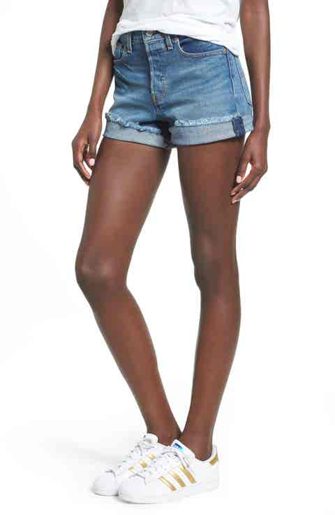 Levi's® Wedgie High Waist Denim Shorts (Blue Cheer)