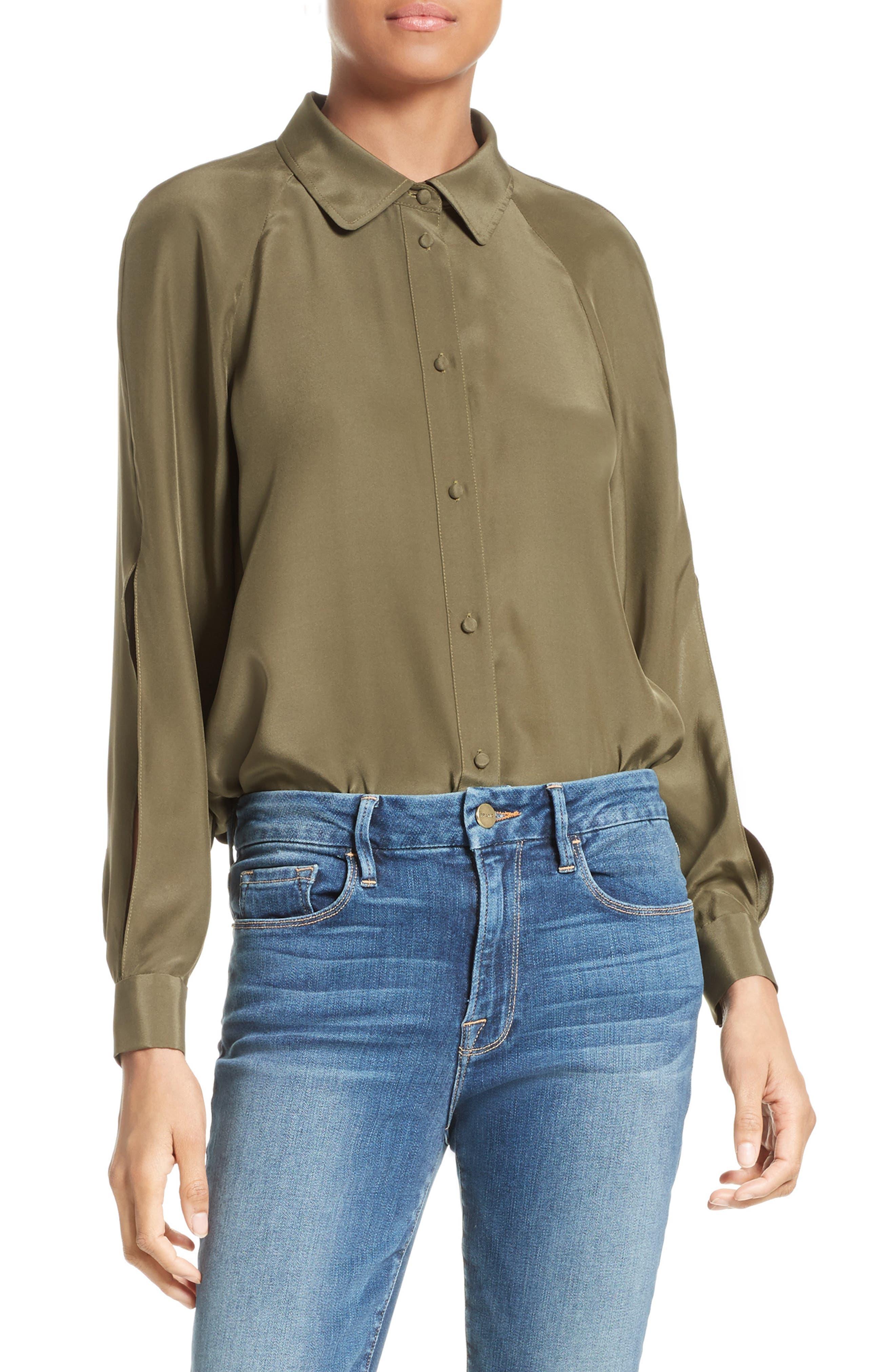 FRAME Split Sleeve Silk Blouse (Nordstrom Exclusive)