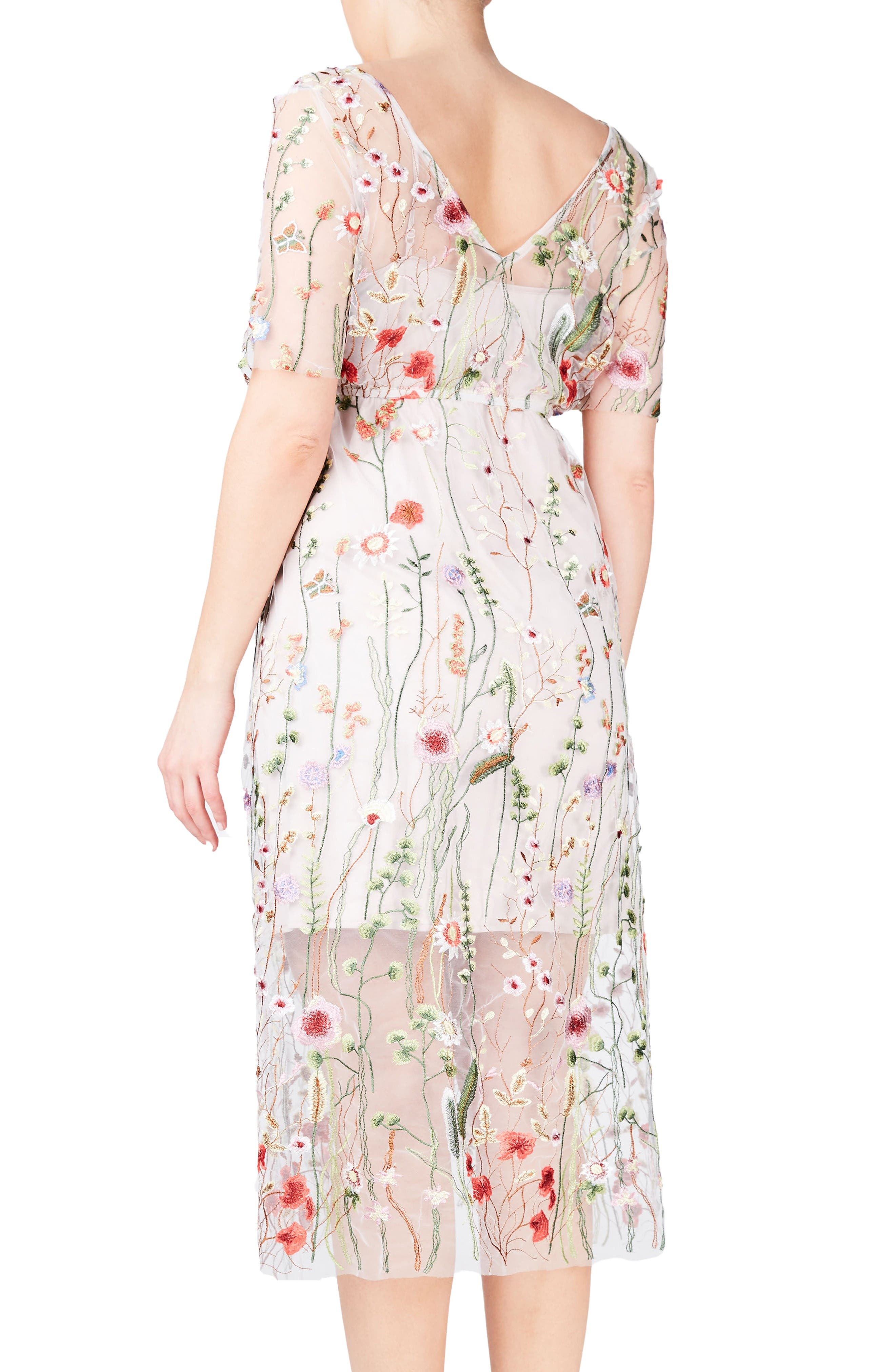 Alternate Image 2  - ELVI Floral Embroidered Floral Net Dress (Plus Size)