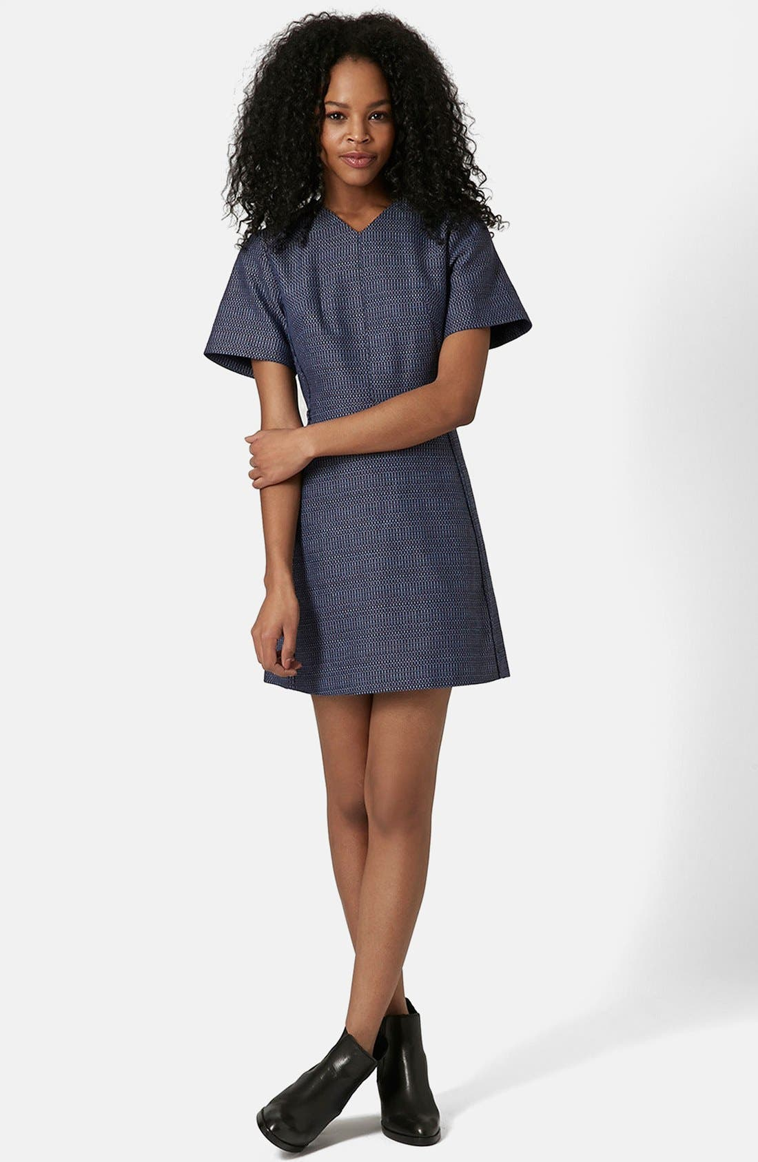 Main Image - Topshop Raw Seam Bouclé Shift Dress