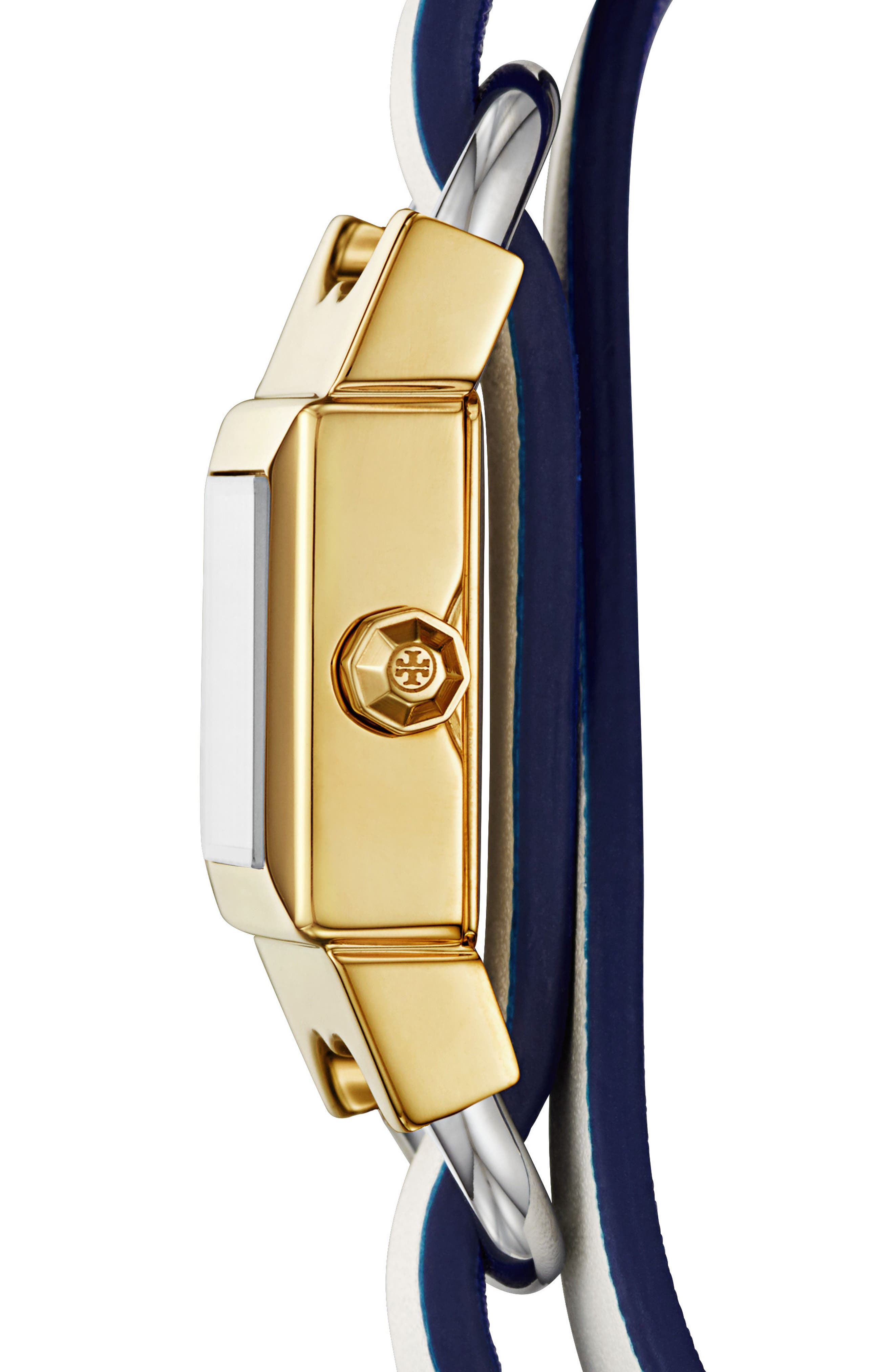 Alternate Image 4  - Tory Burch Double T Link Reversible Wrap Leather Strap Watch, 19mm x 23mm
