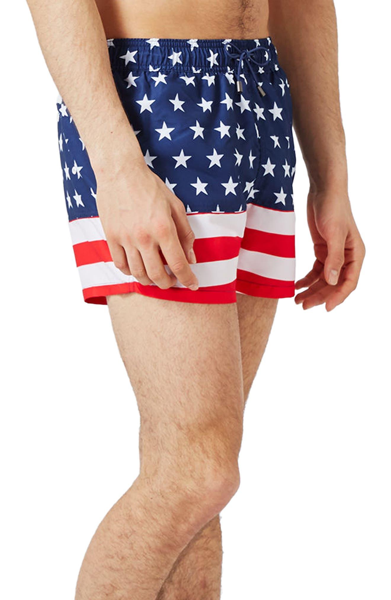 Topman USA Flag Print Swim Trunks