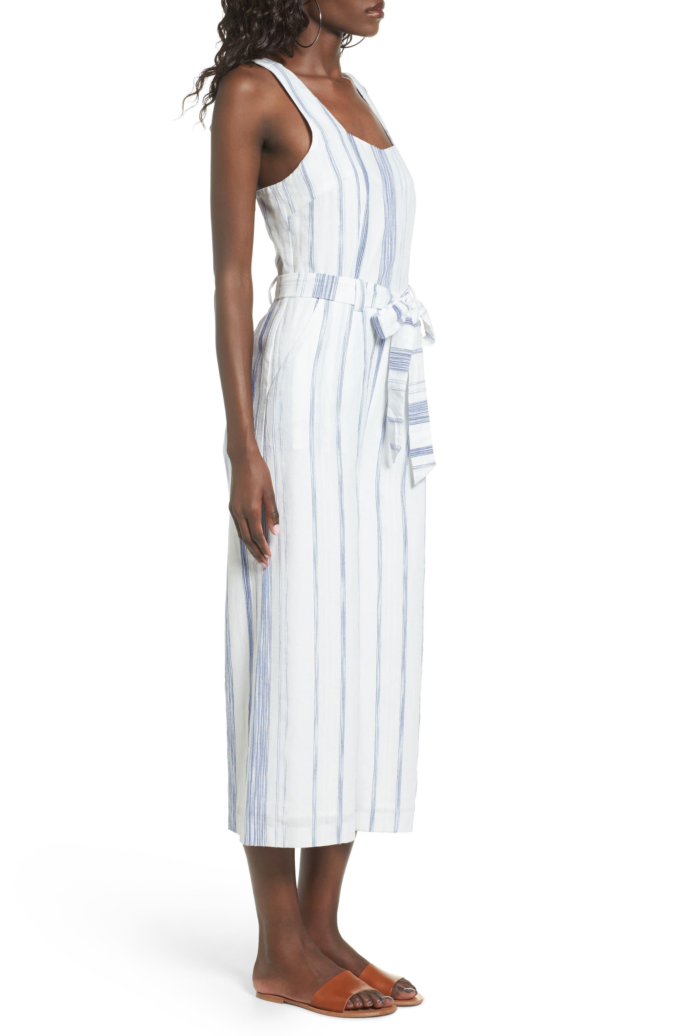 Alternate Image 3  - J.O.A. Crop Stripe Cotton Jumpsuit