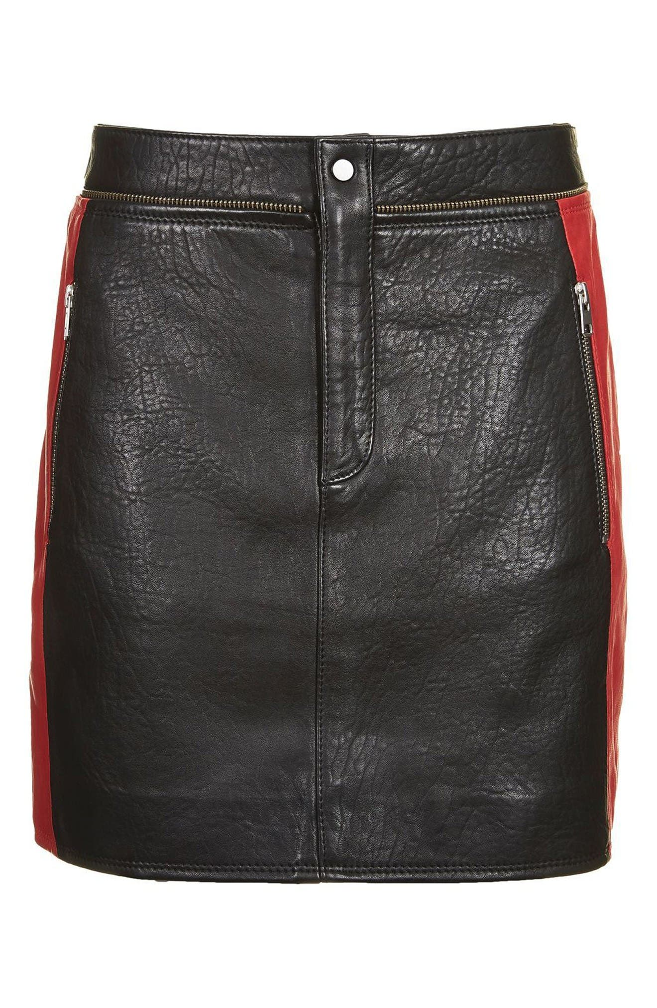 Alternate Image 5  - Topshop Colorblock Leather Skirt