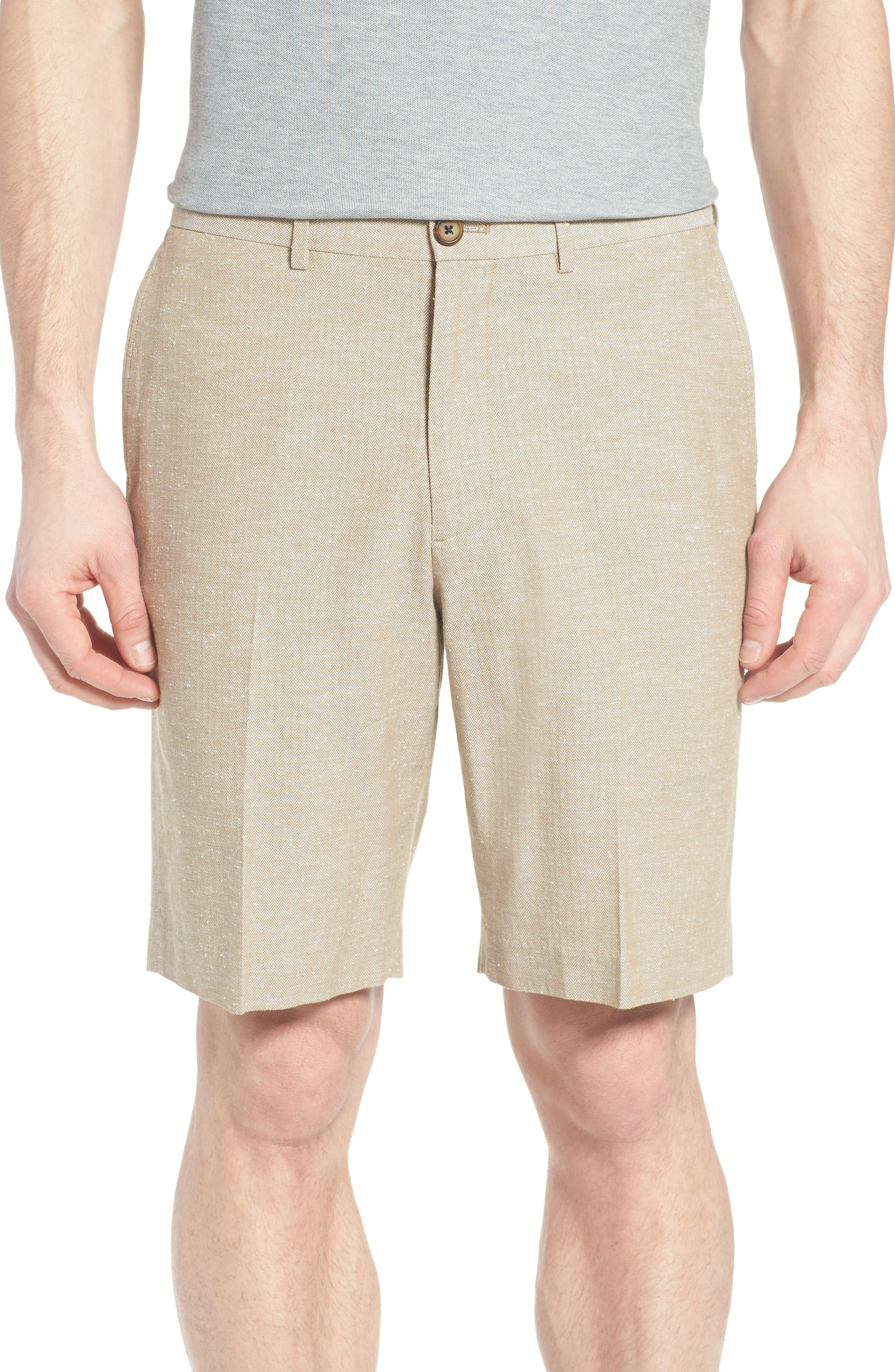 John W. Nordstrom® Herringbone Flat Front Shorts