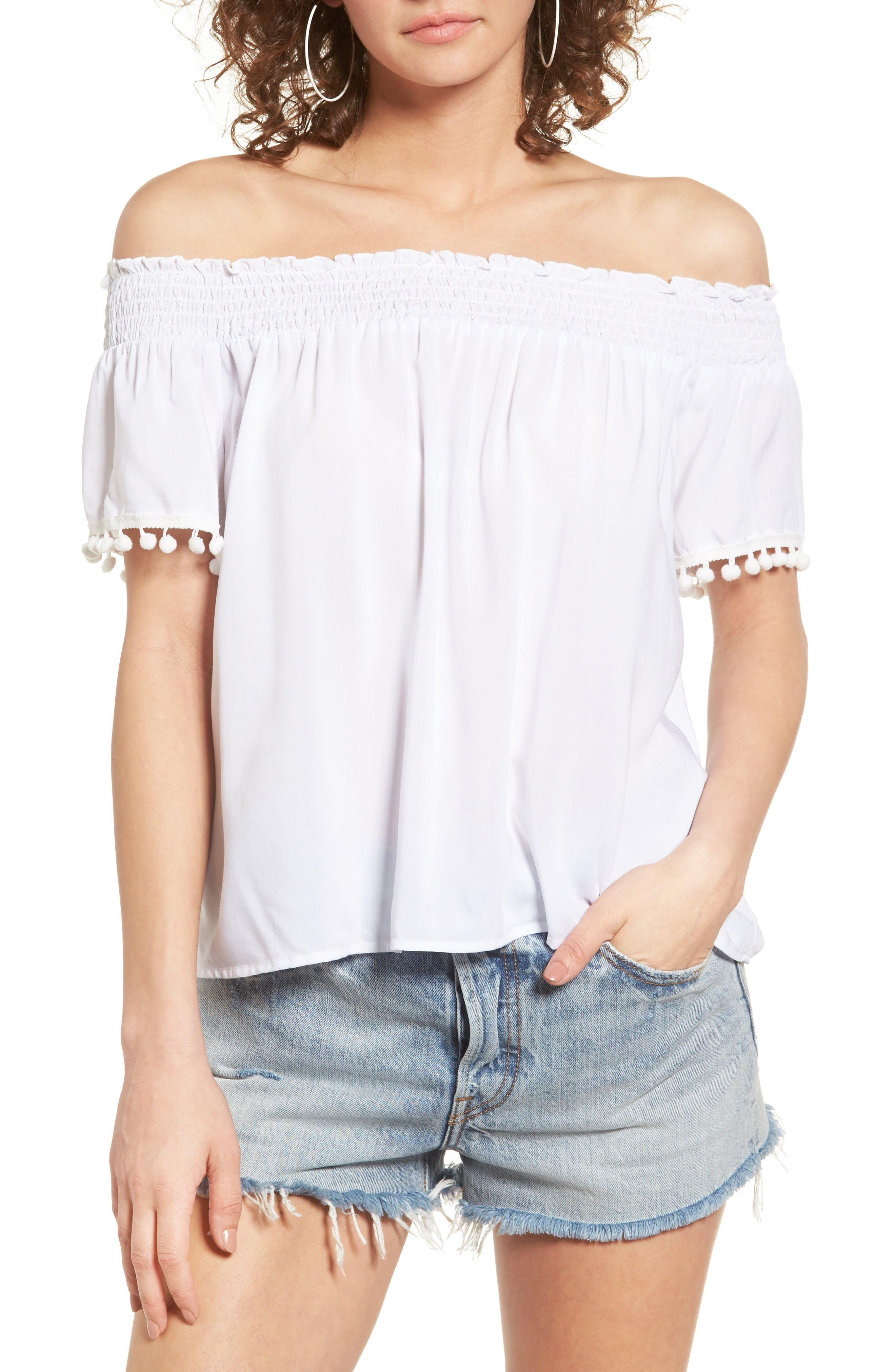 Alternate Image 1 Selected - Love, Fire Smocked Check Off the Shoulder Top