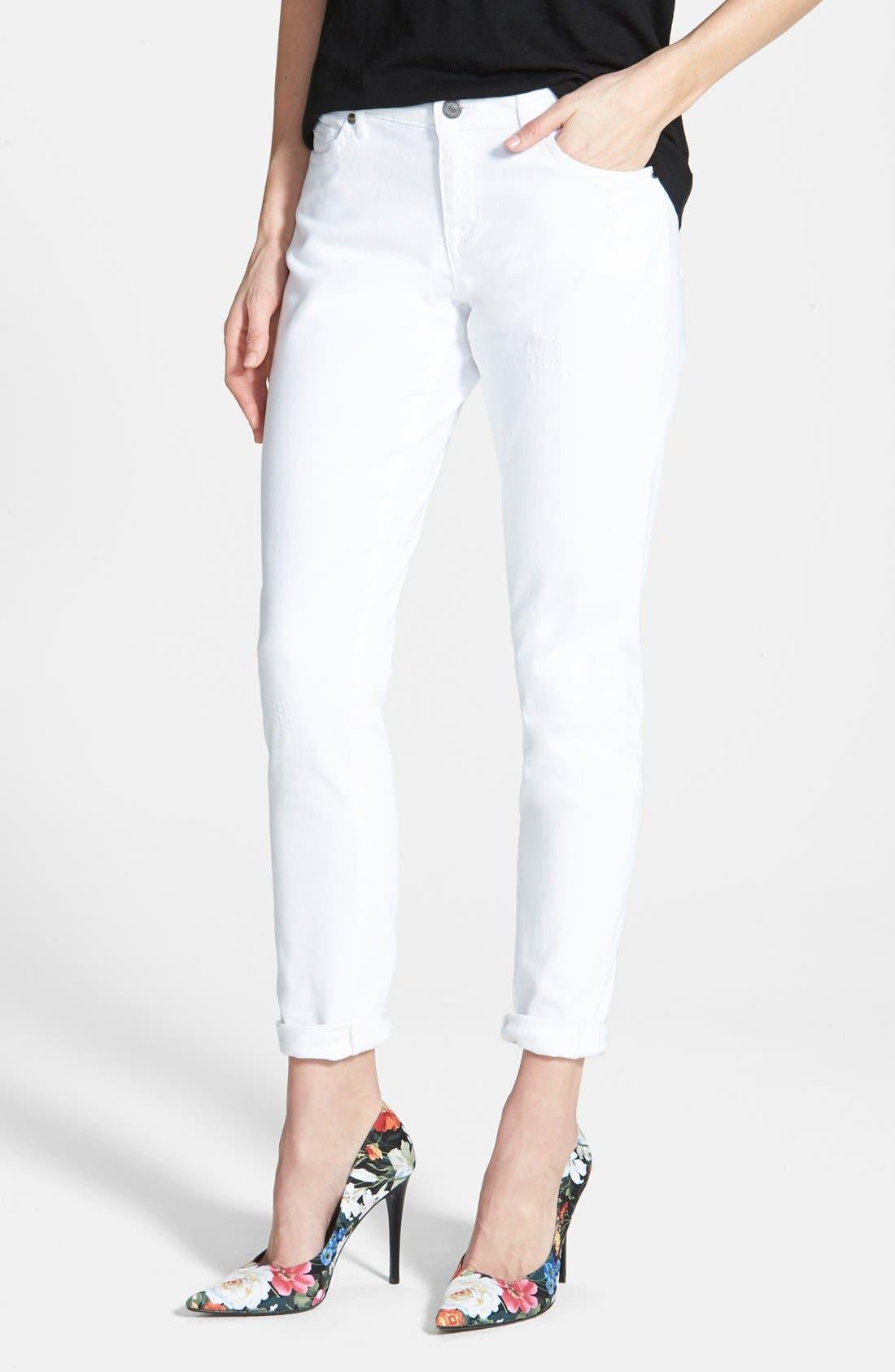 Main Image - CJ by Cookie Johnson 'Glory' Slim Boyfriend Jeans (Optic White)