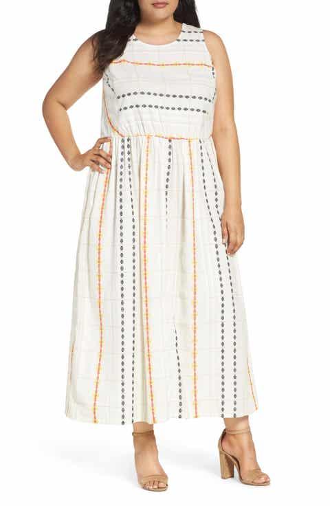 Caslon® Cotton Maxi Dress (Plus Size)