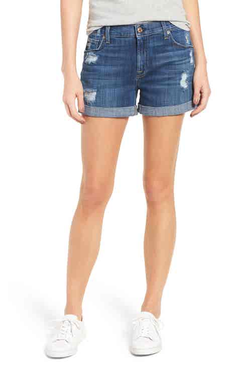 7 For All Mankind® Relaxed Cuffed Denim Shorts (Barrier Reef Broken Twill 3)