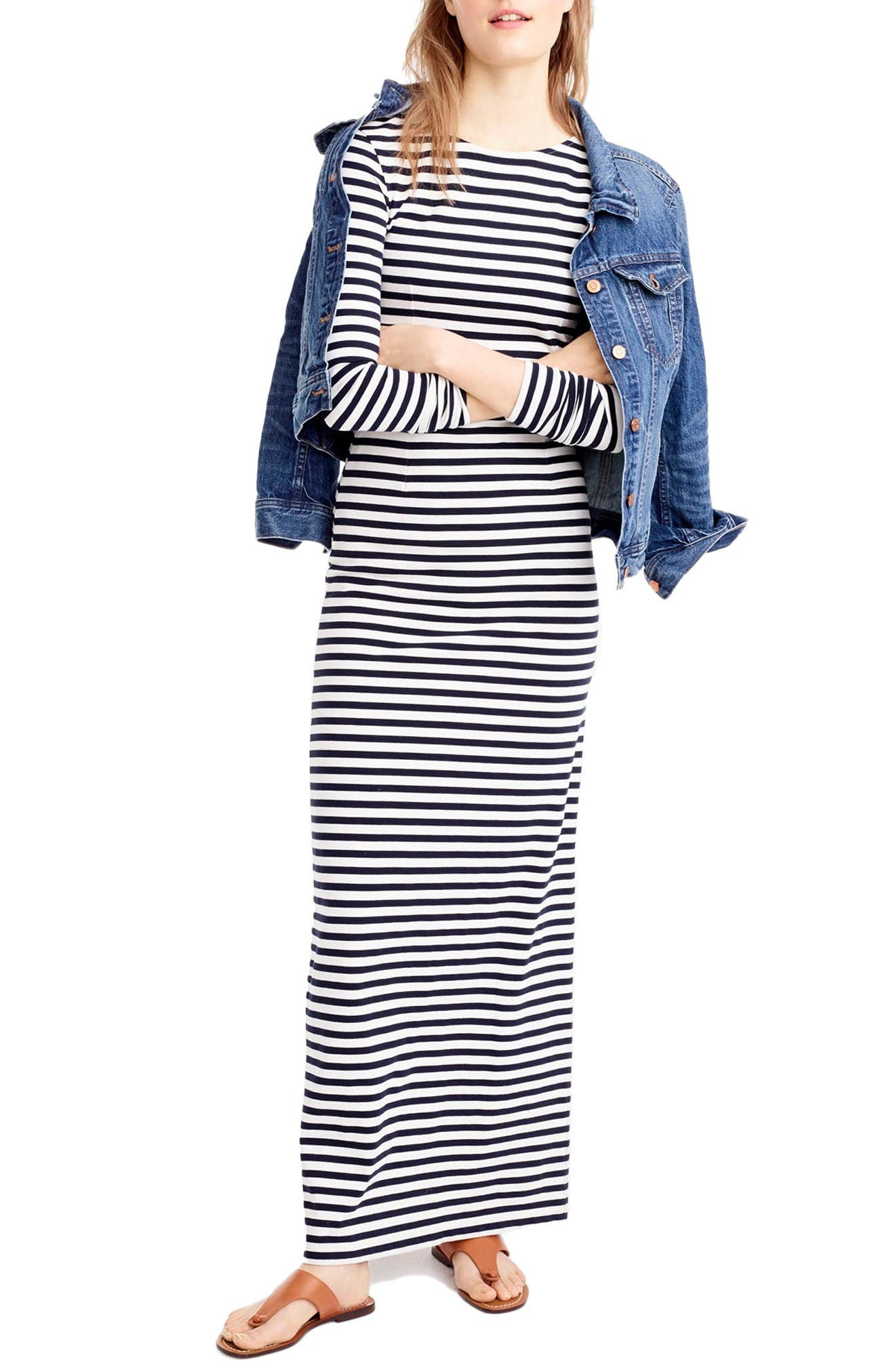Main Image - J.Crew Long Sleeve Stripe Maxi Dress