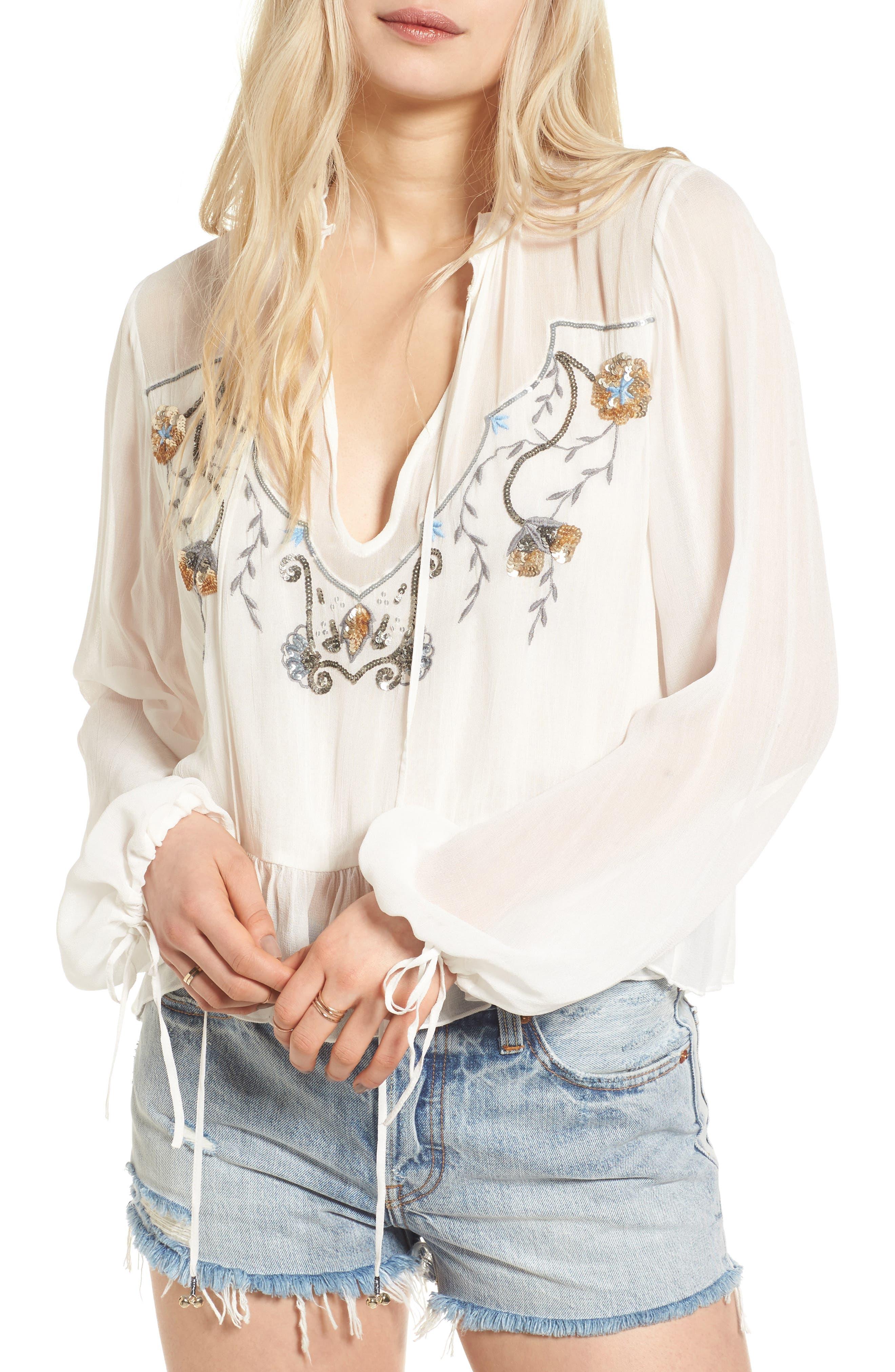 Alternate Image 1 Selected - Somedays Lovin Marigold Embellished Top