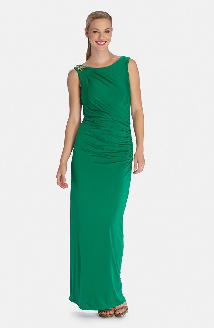 Tahari Embellished Shoulder Drape Back Jersey Gown | Nordstrom