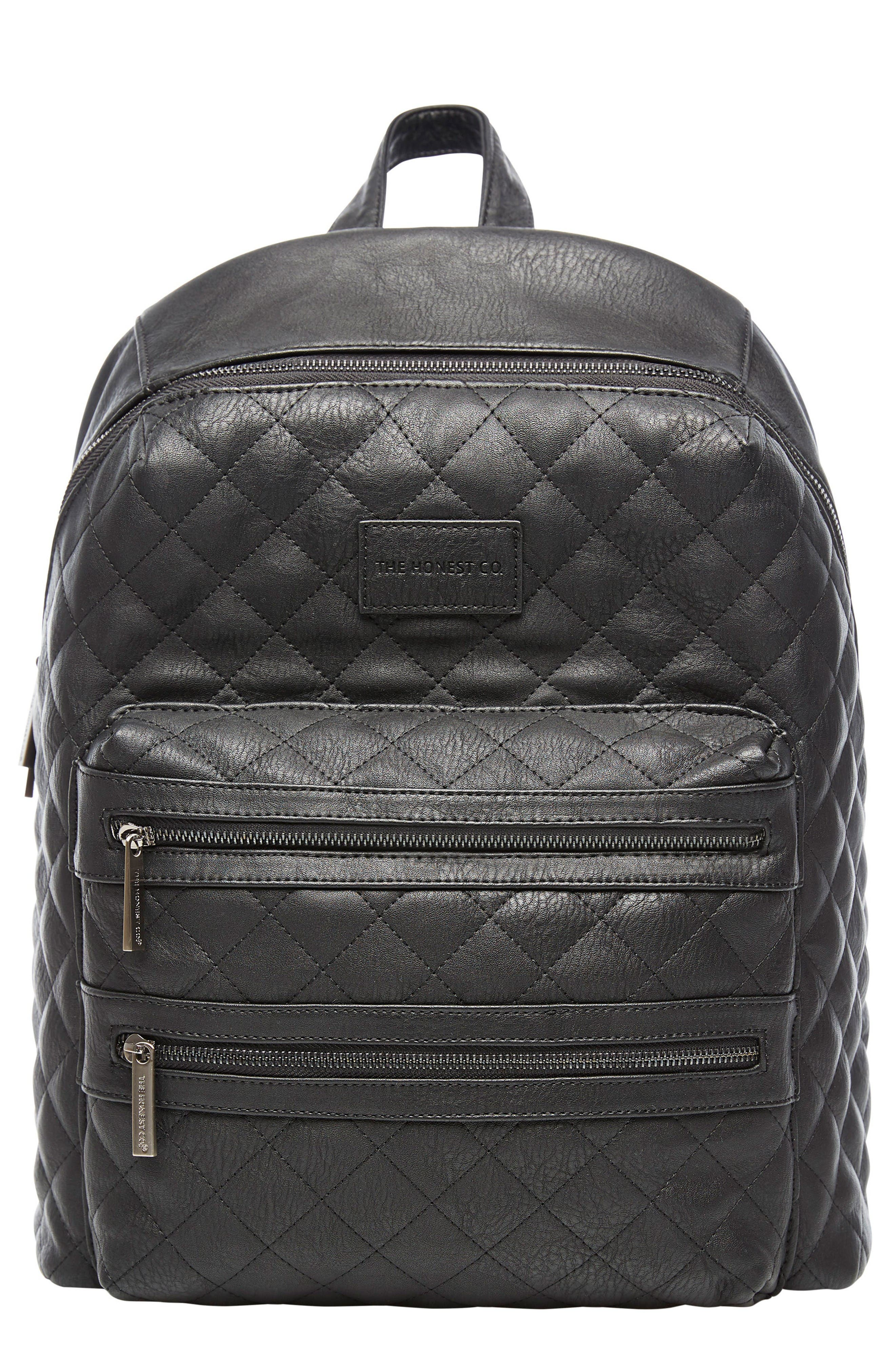 Main Image - The Honest Company City Quilted Faux Leather Diaper Backpack