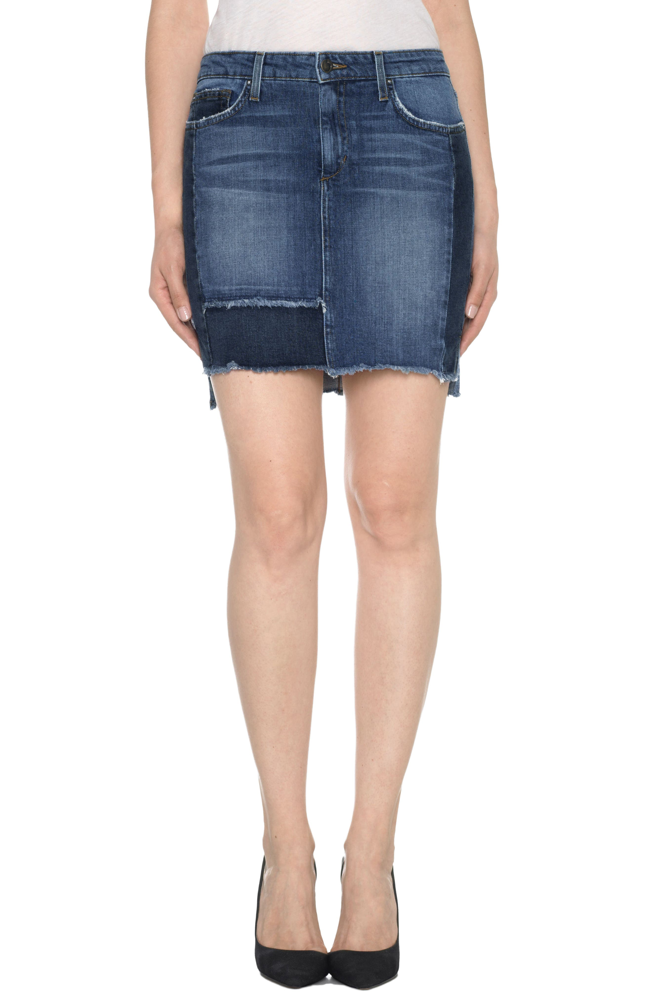 Joe's High/Low Patchwork Denim Skirt (Kyree)