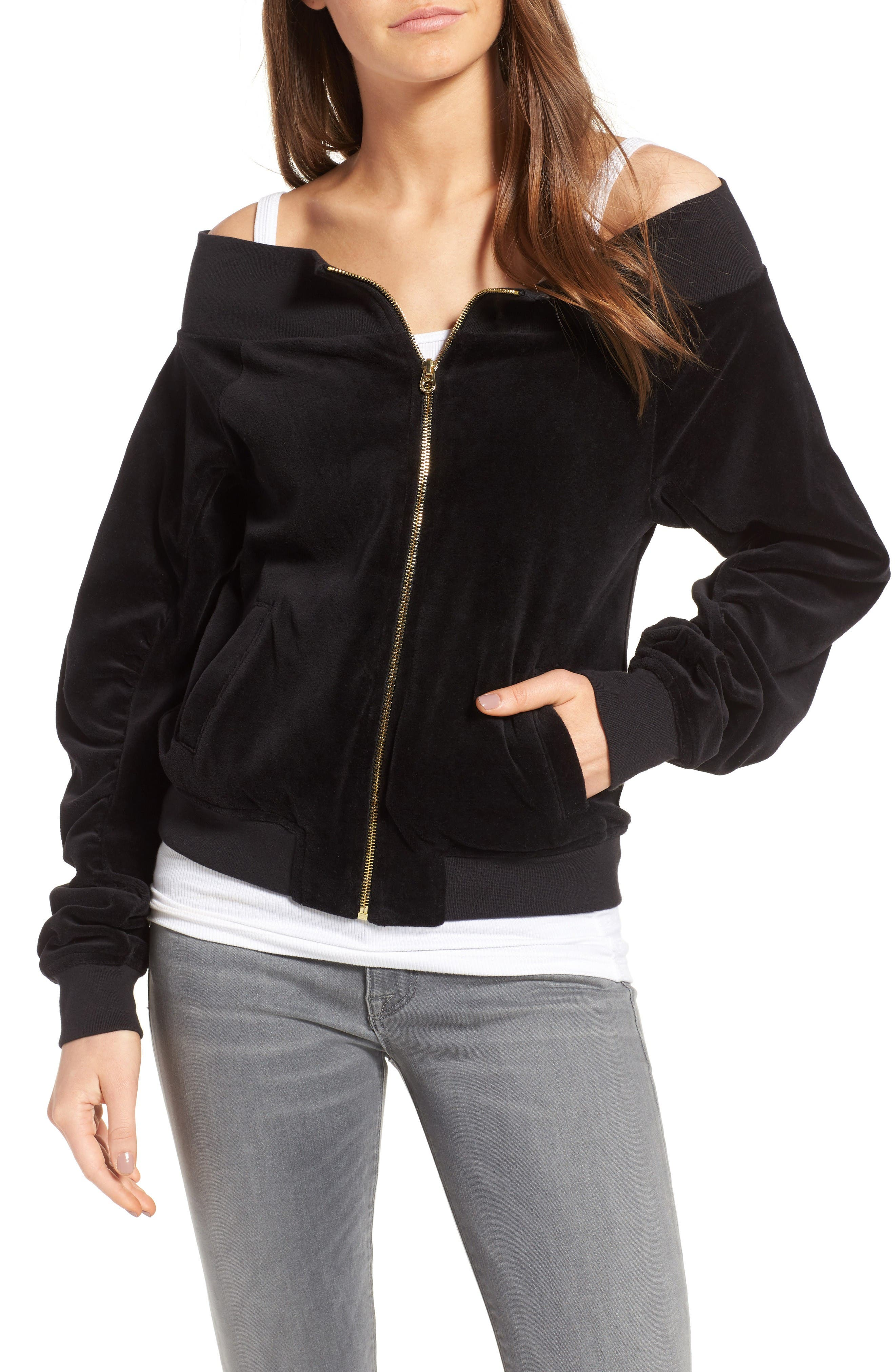 Main Image - Juicy Couture Off the Shoulder Velour Track Jacket