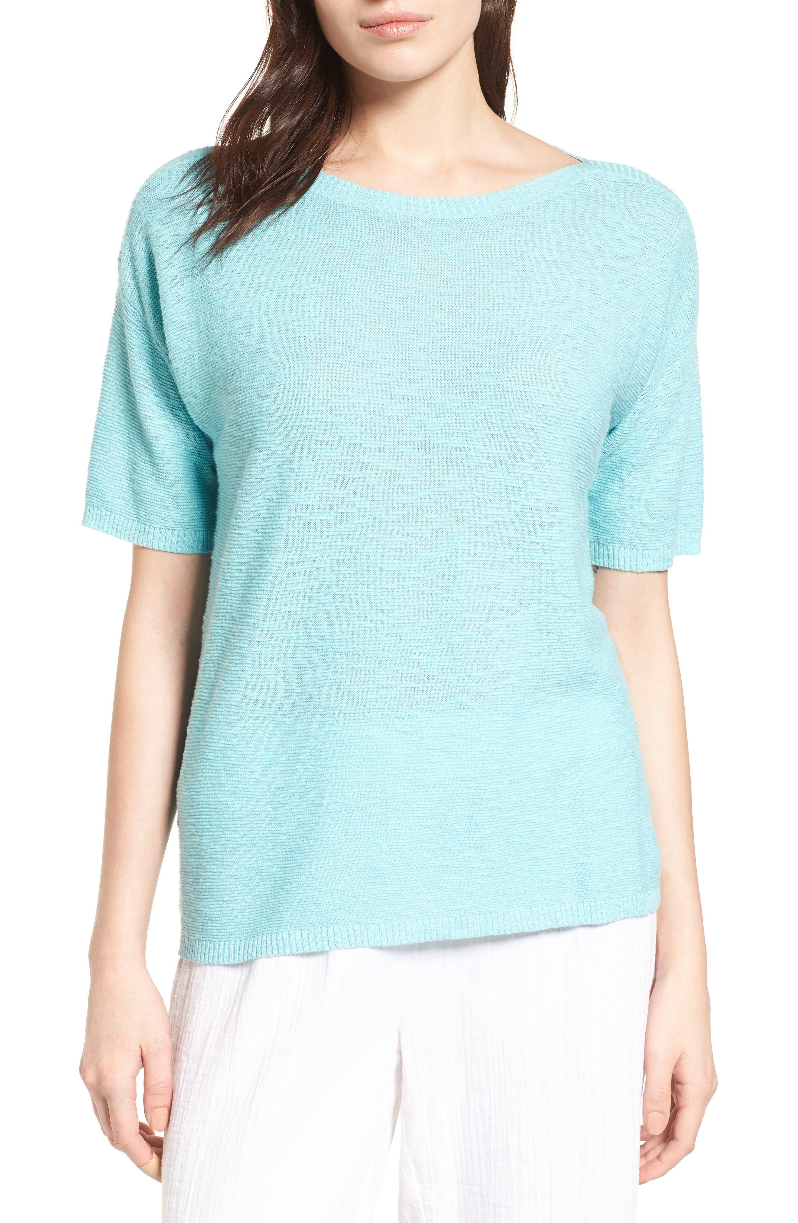 Eileen Fisher Organic Linen & Cotton Knit Pullover (Regular & Petite)