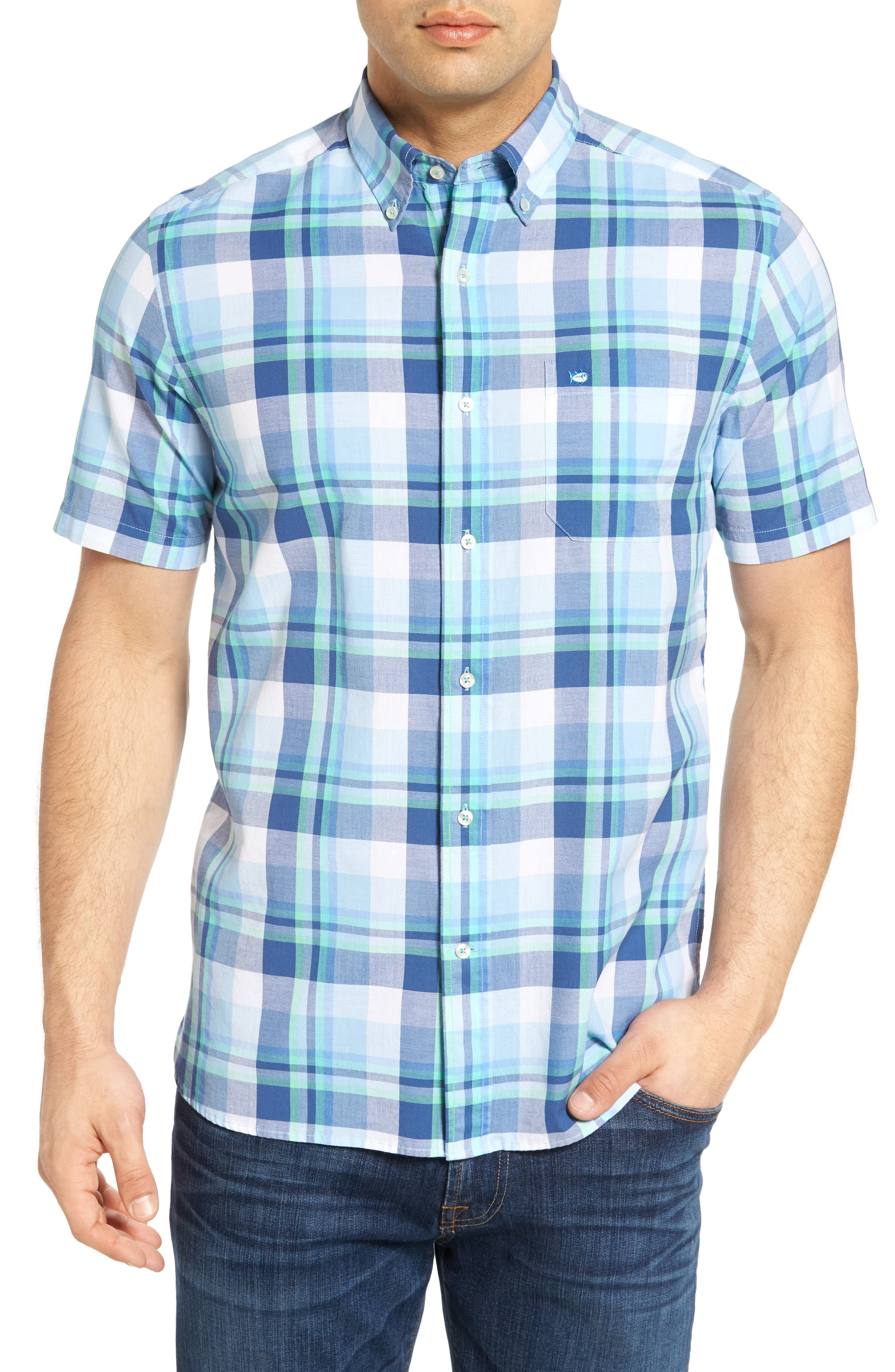 Southern Tide Crystal Shores Classic Fit Plaid Short Sleeve Sport Shirt