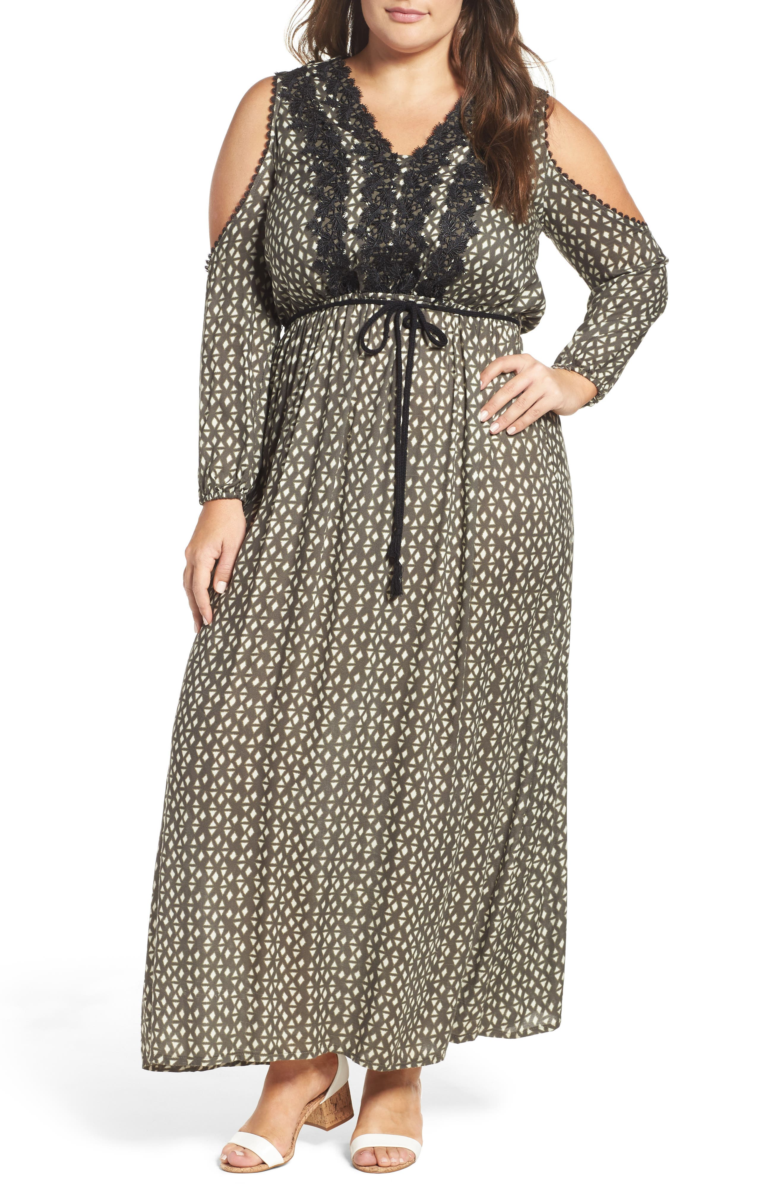ELVI Cold Shoulder Geo Print Maxi Dress (Plus Size)
