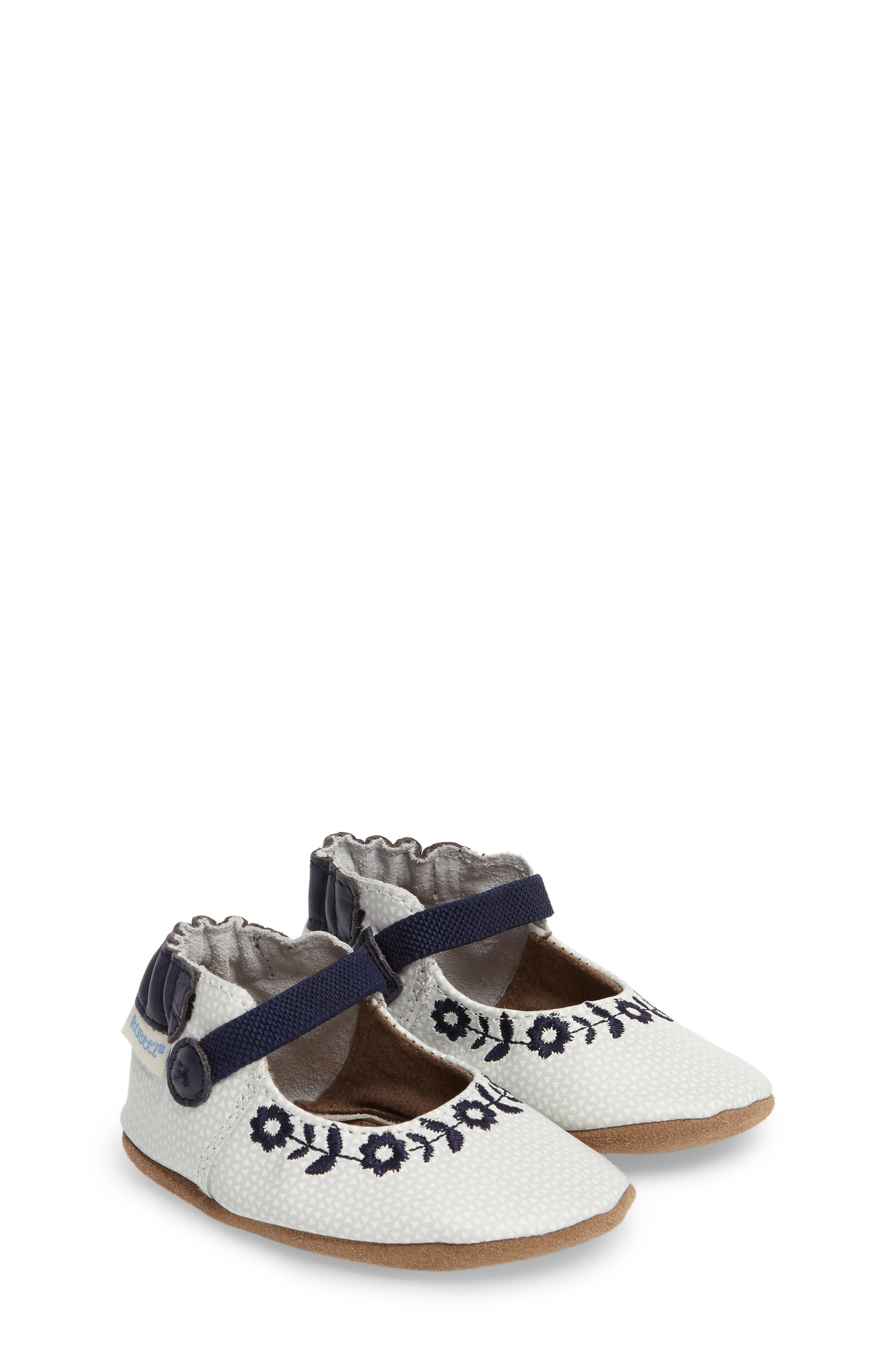 Alternate Image 1 Selected - Robeez® Daisy Lane Embroidered Mary Jane Crib Shoe (Baby & Walker)