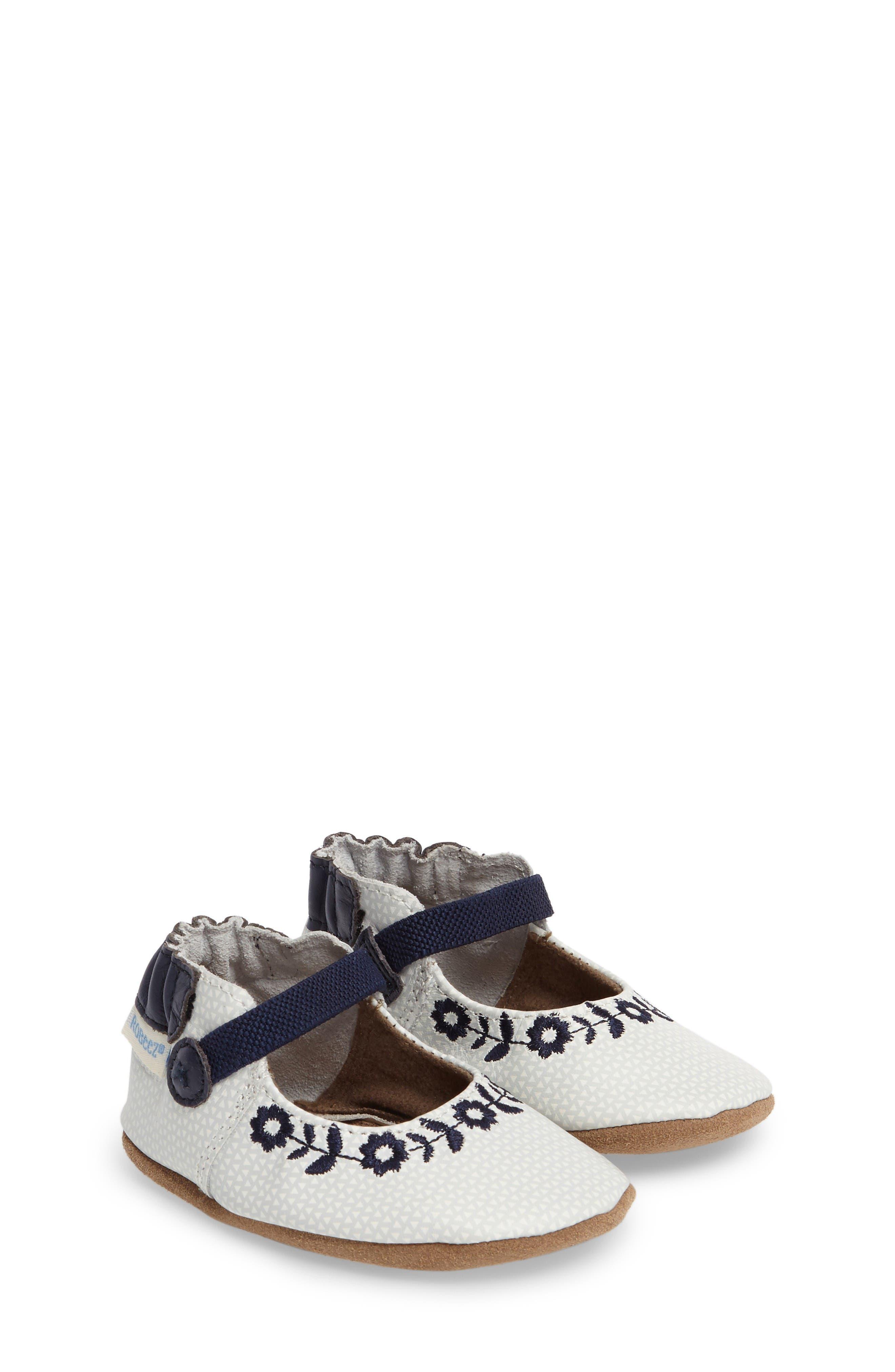 Main Image - Robeez® Daisy Lane Embroidered Mary Jane Crib Shoe (Baby & Walker)