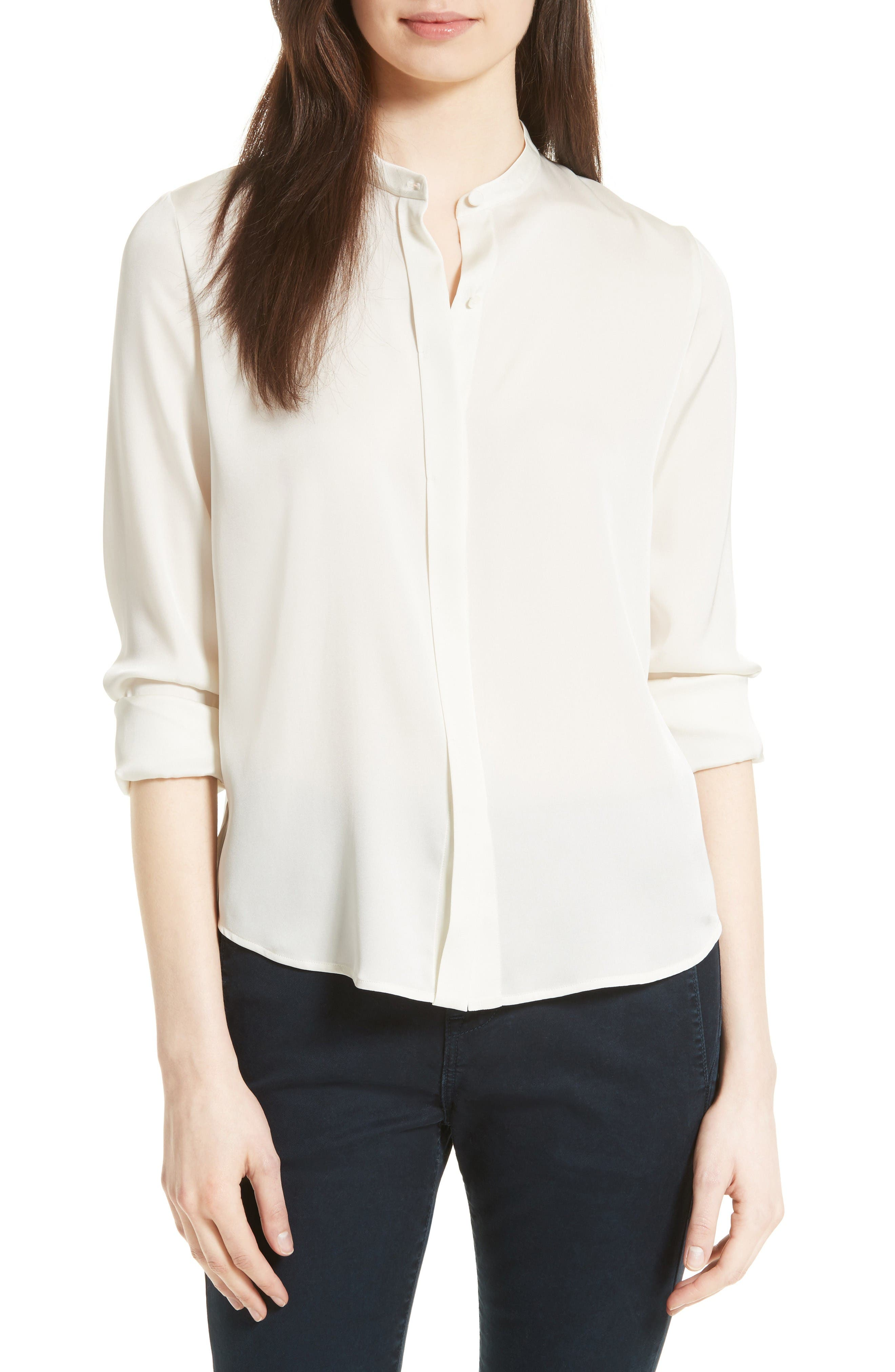 Vince Stretch Silk Band Collar Blouse
