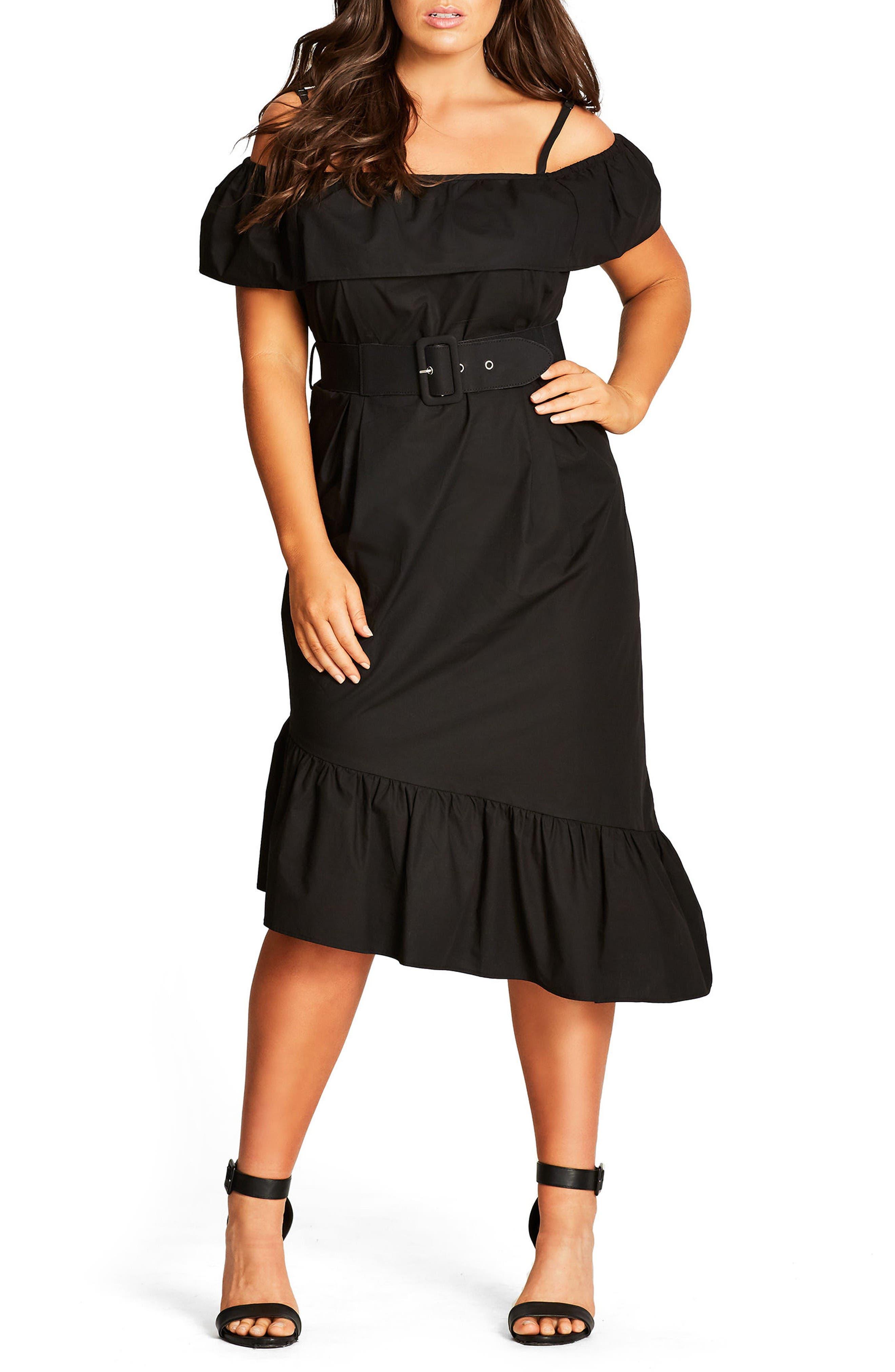 City Chic Saloon Baby Cold Shoulder Dress (Plus Size)
