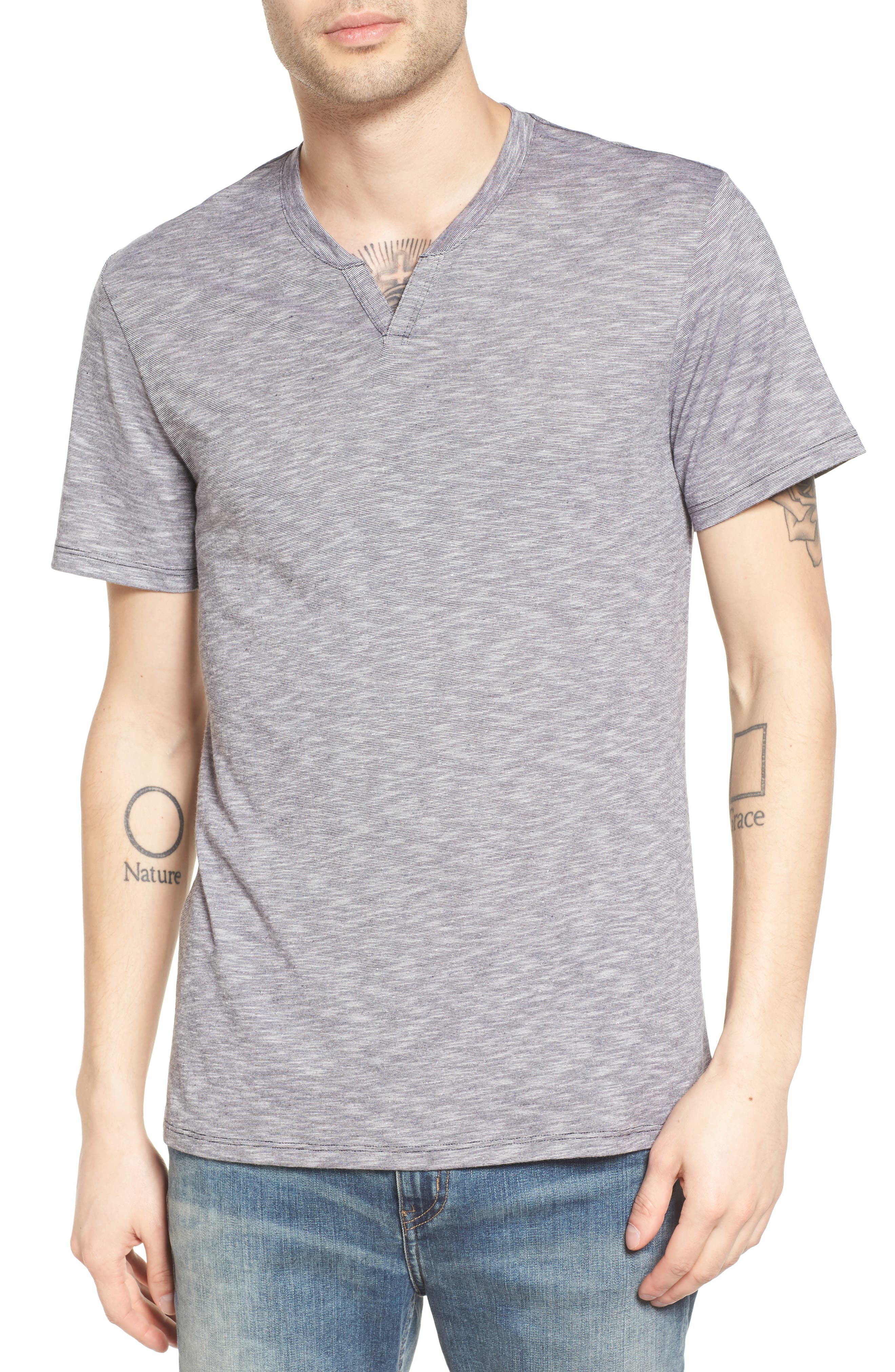 The Rail Slub Feeder Stripe Split Neck T-Shirt
