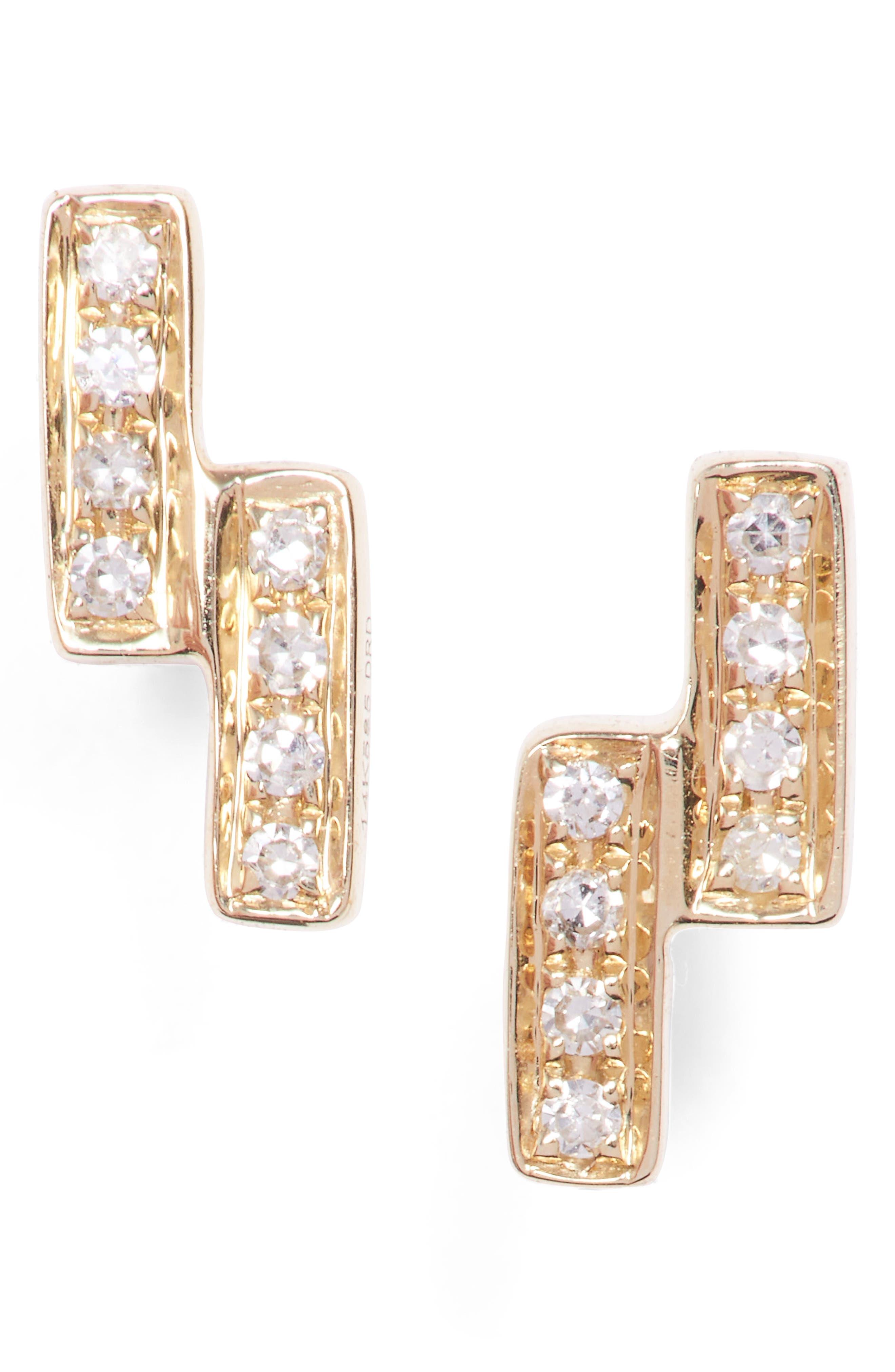 Dana Rebecca Designs Sylvie Rose Double Bar Diamond Earrings