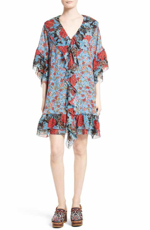 see by chlo floral flounce tunic silk dress
