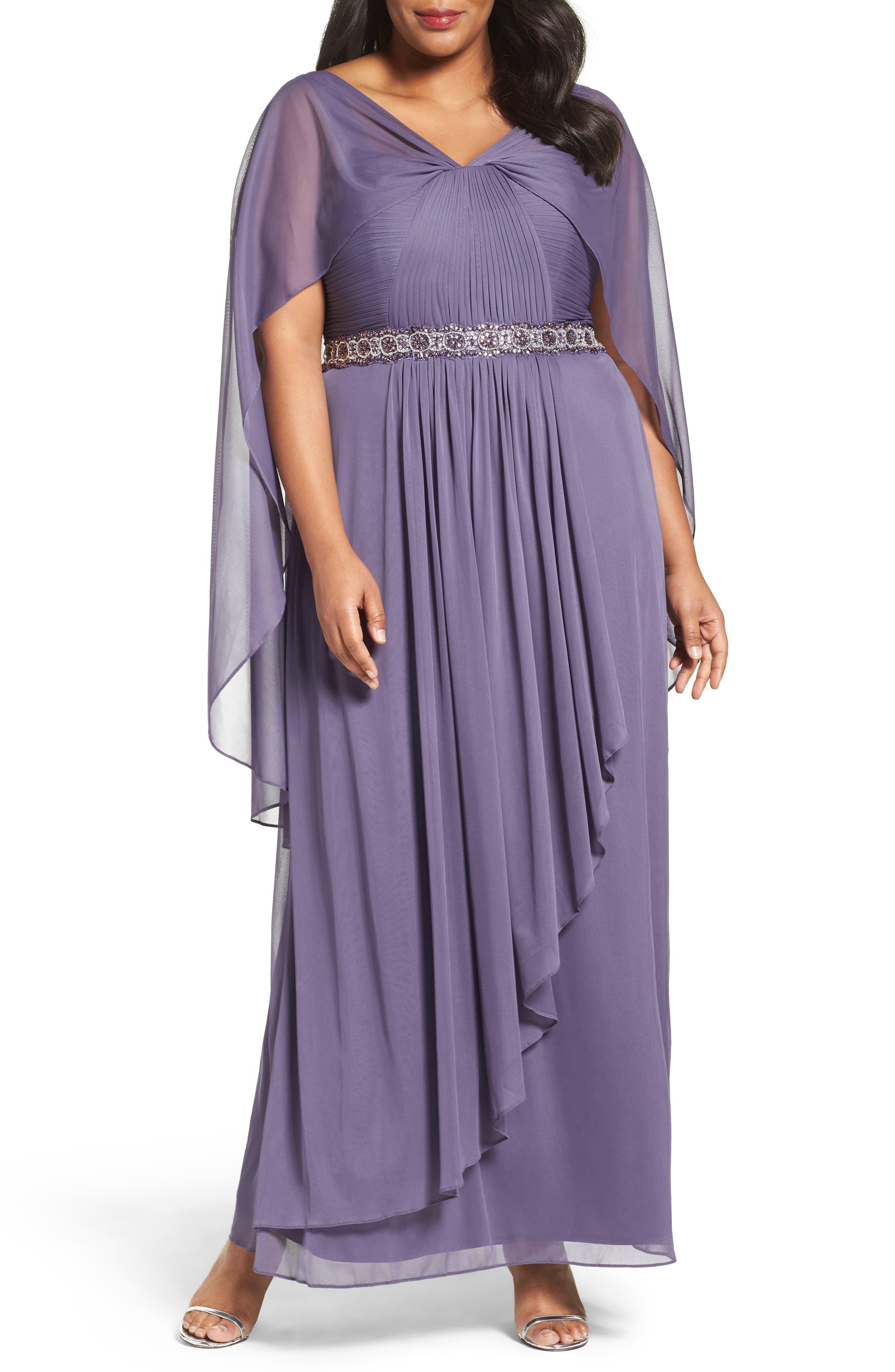 Alex Evenings Capelet Drape Long A-Line Dress (Plus Size)