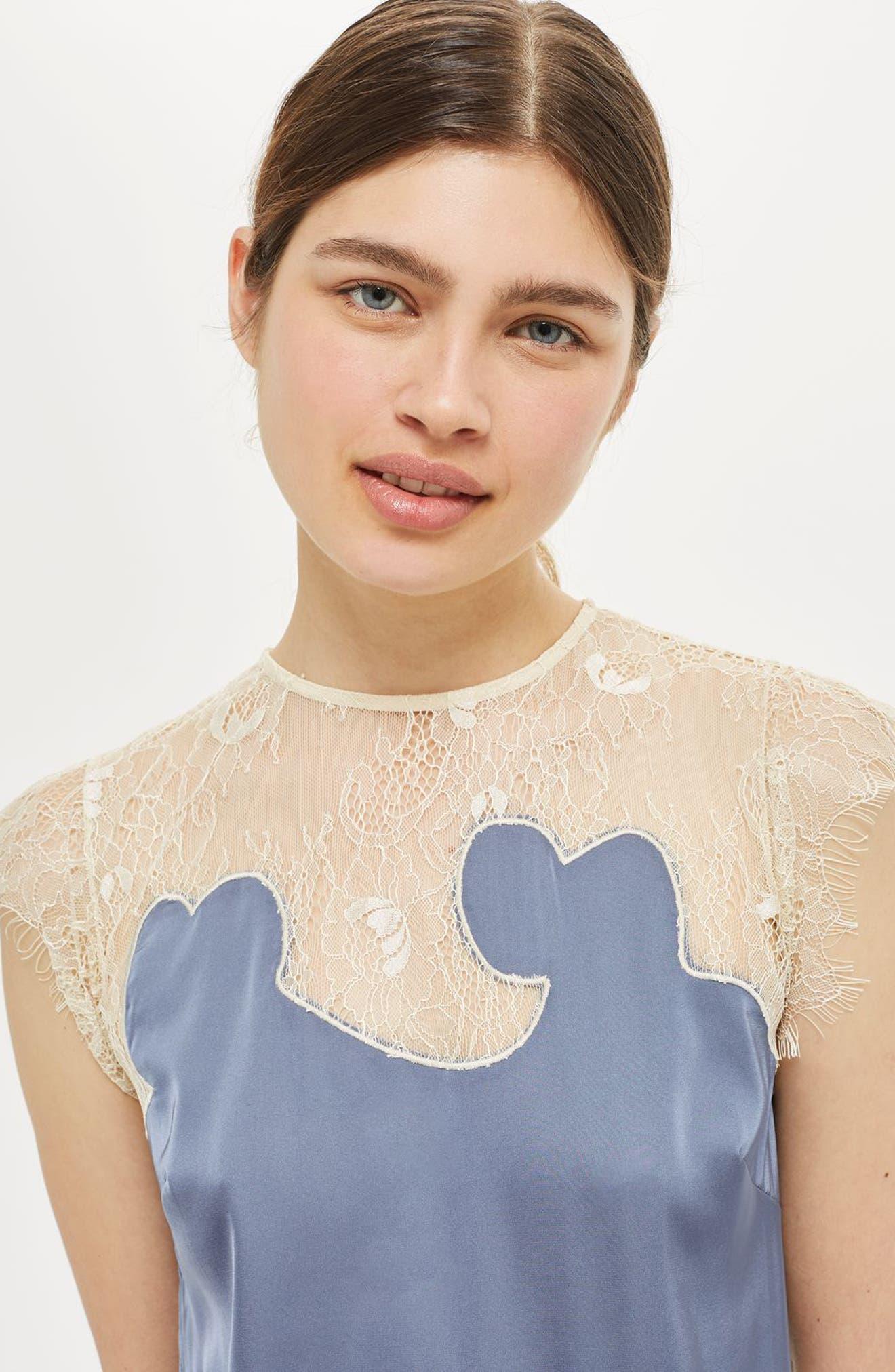 Alternate Image 5  - Topshop Satin & Lace Midi Dress