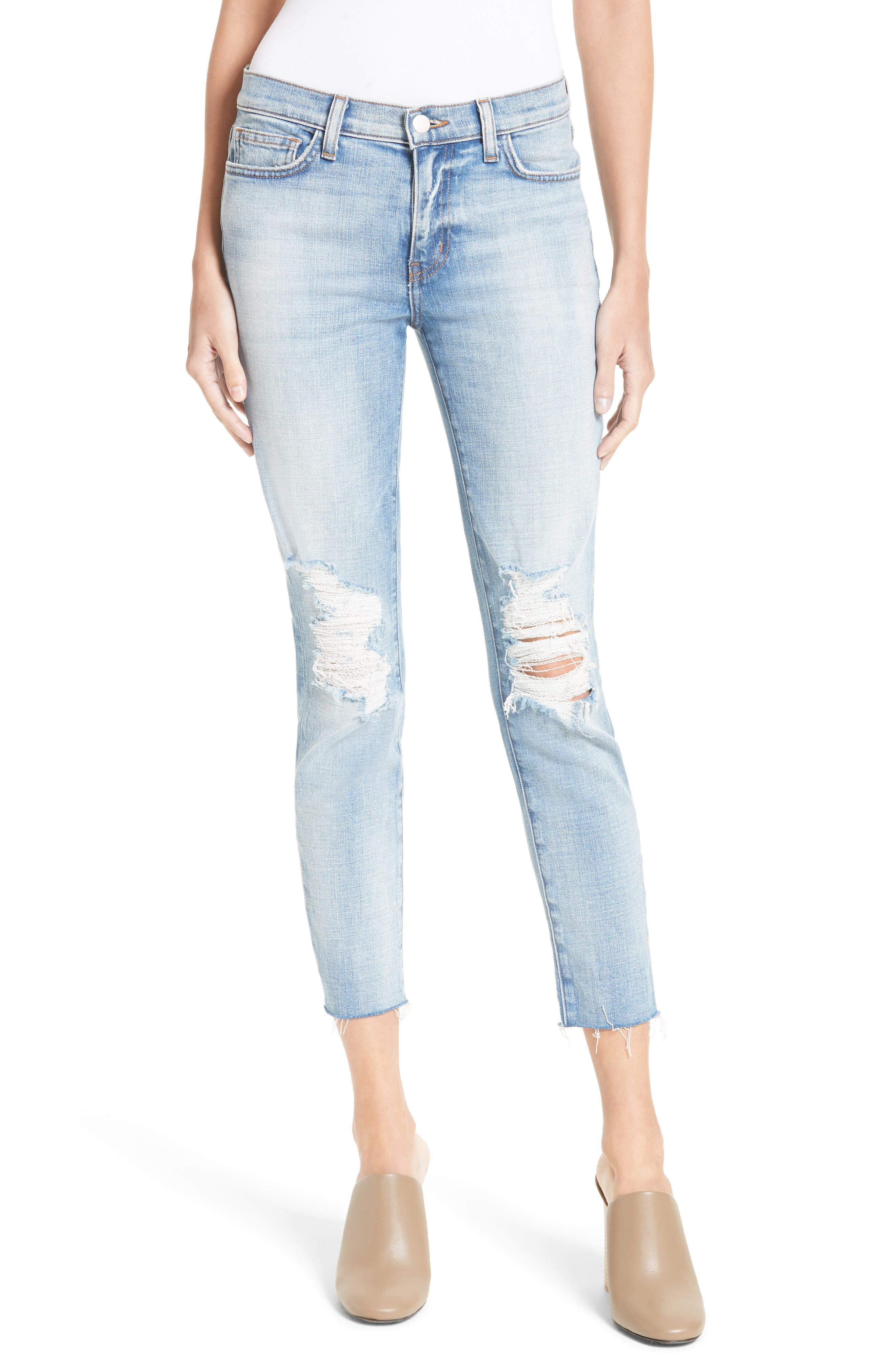 L'AGENCE El Matador Ripped Slim Jeans (Dry Ice)