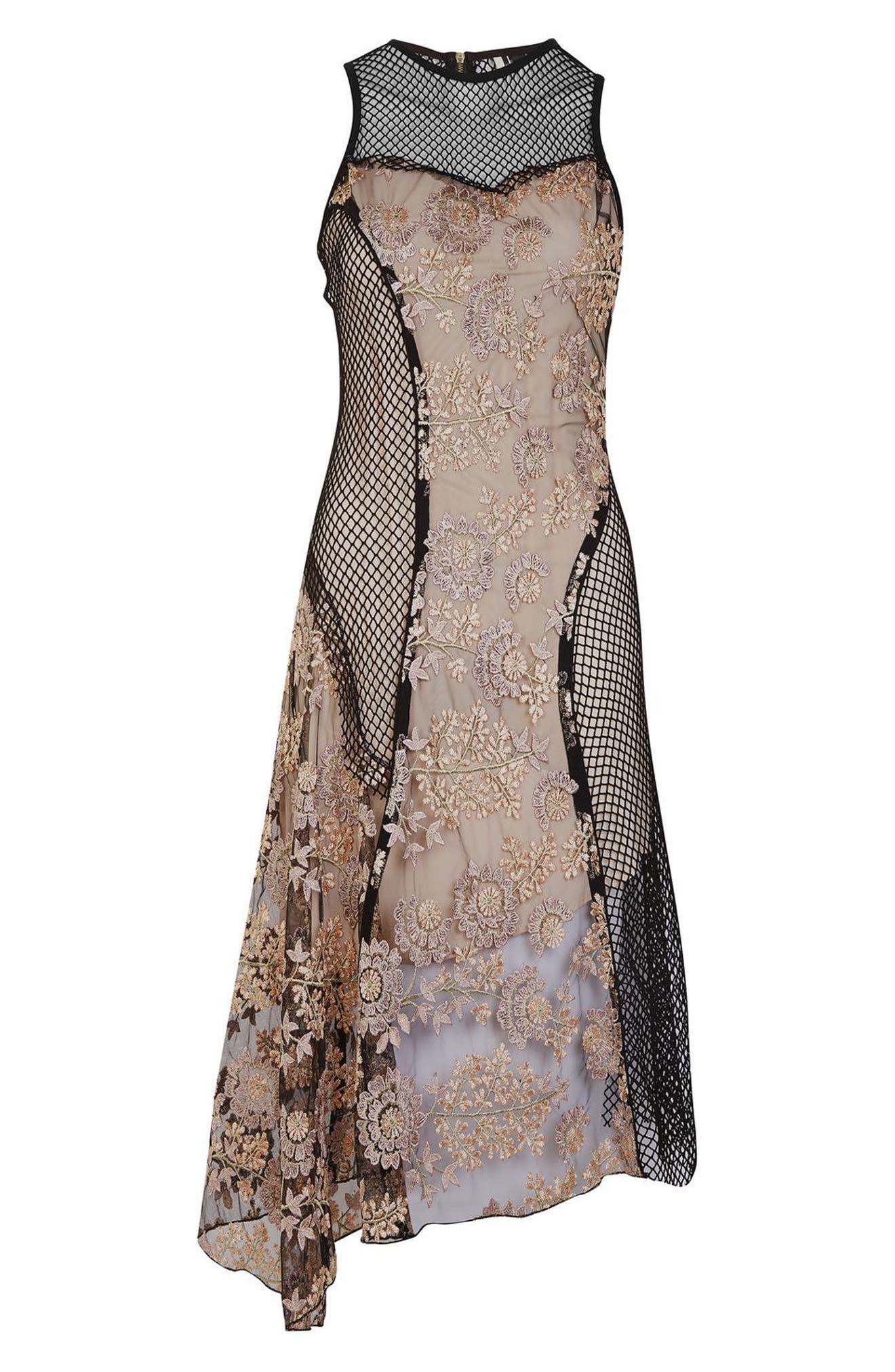 Alternate Image 4  - Topshop Lace & Fishnet Midi Dress