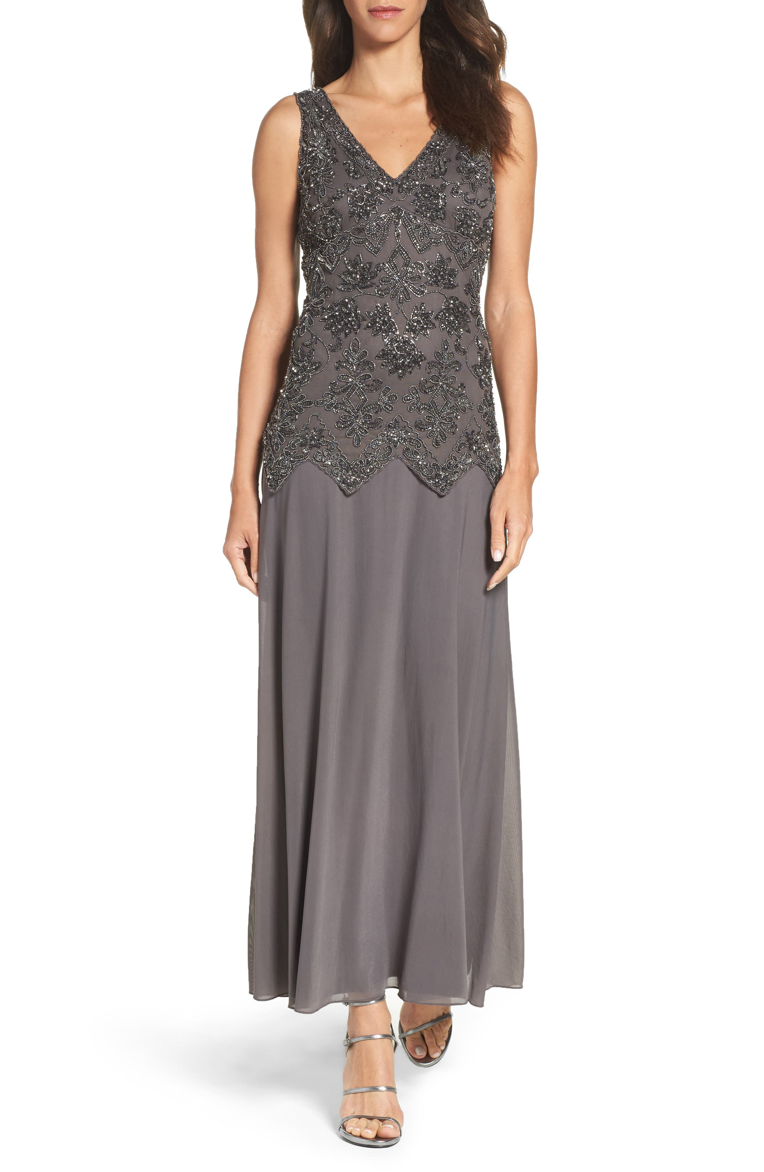 Pisarro Nights Embellished Mesh & Chiffon Gown (Regular & Petite)