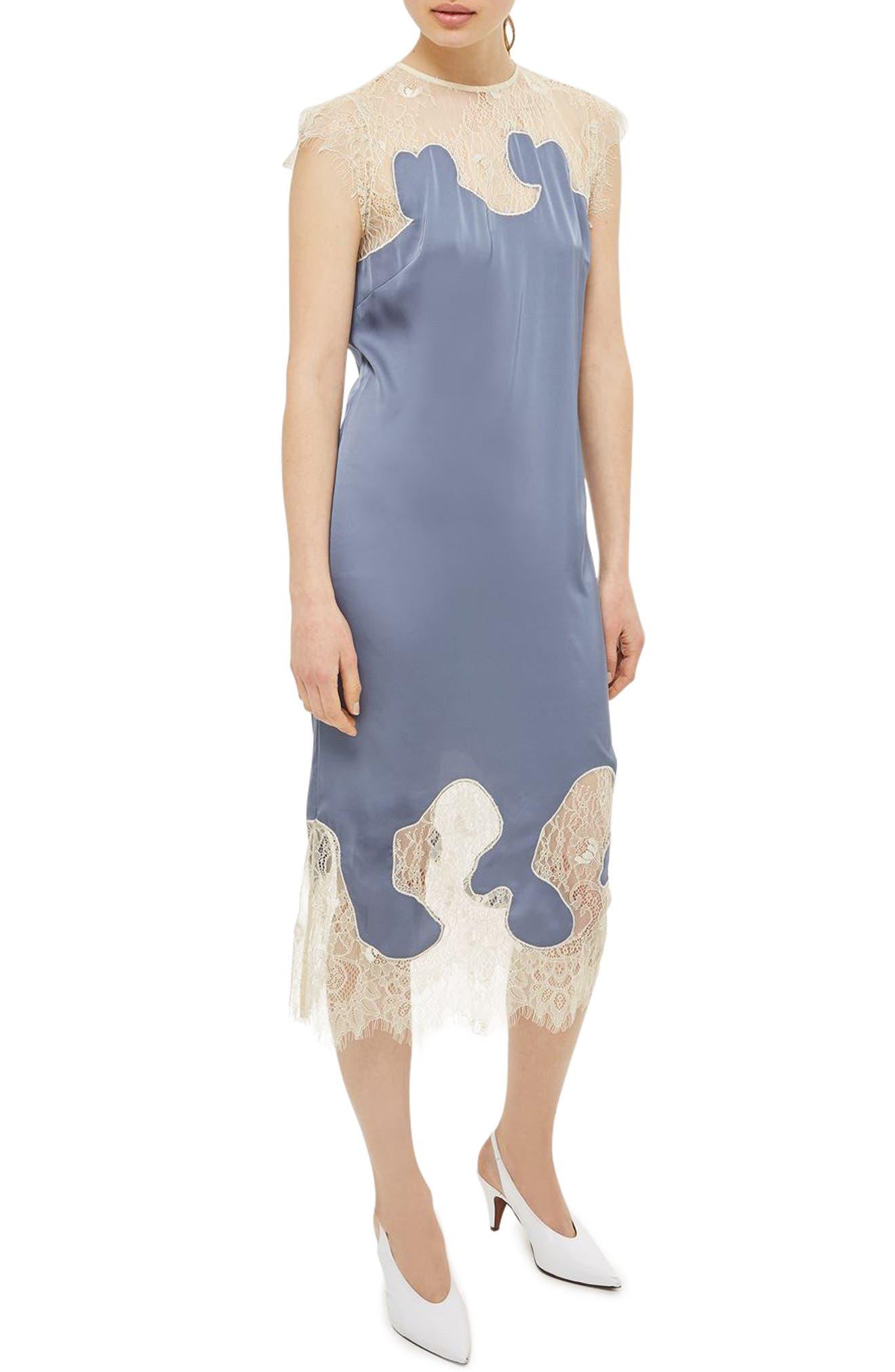 Main Image - Topshop Satin & Lace Midi Dress