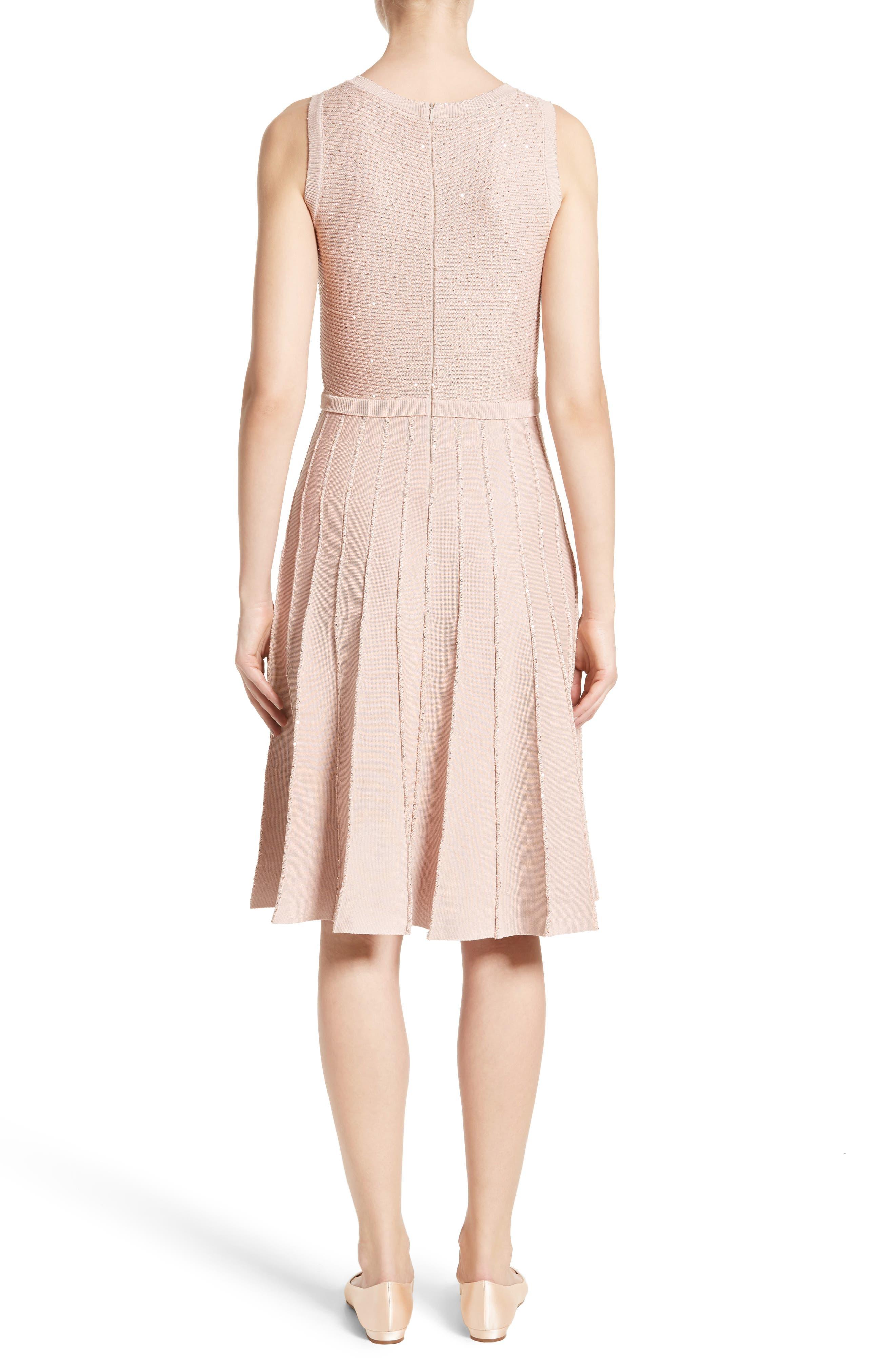 Alternate Image 2  - Oscar de la Renta Sparkle Knit Pleated Dress