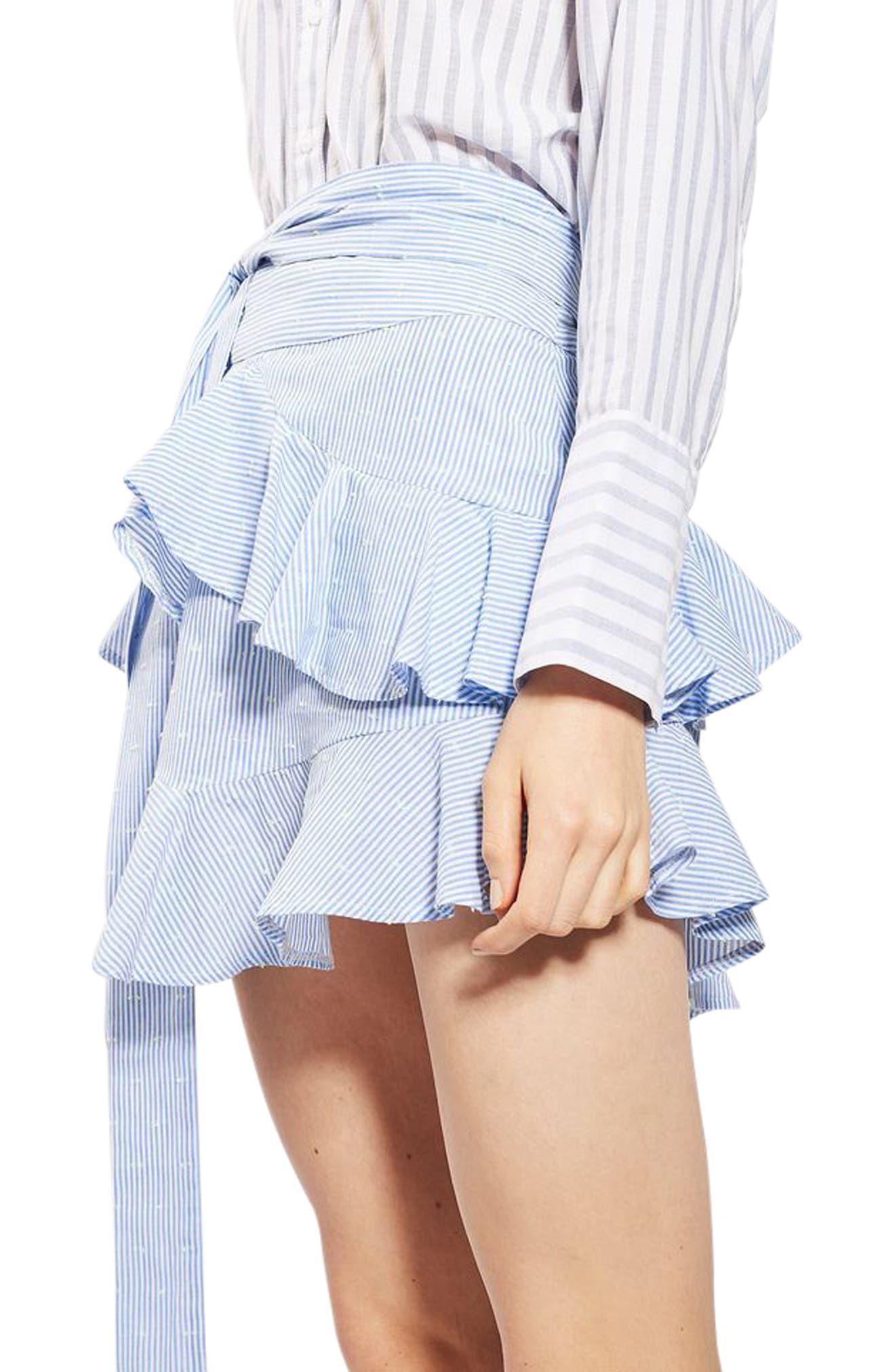 Alternate Image 2  - Topshop Dobby Stripe Ruffle Skirt