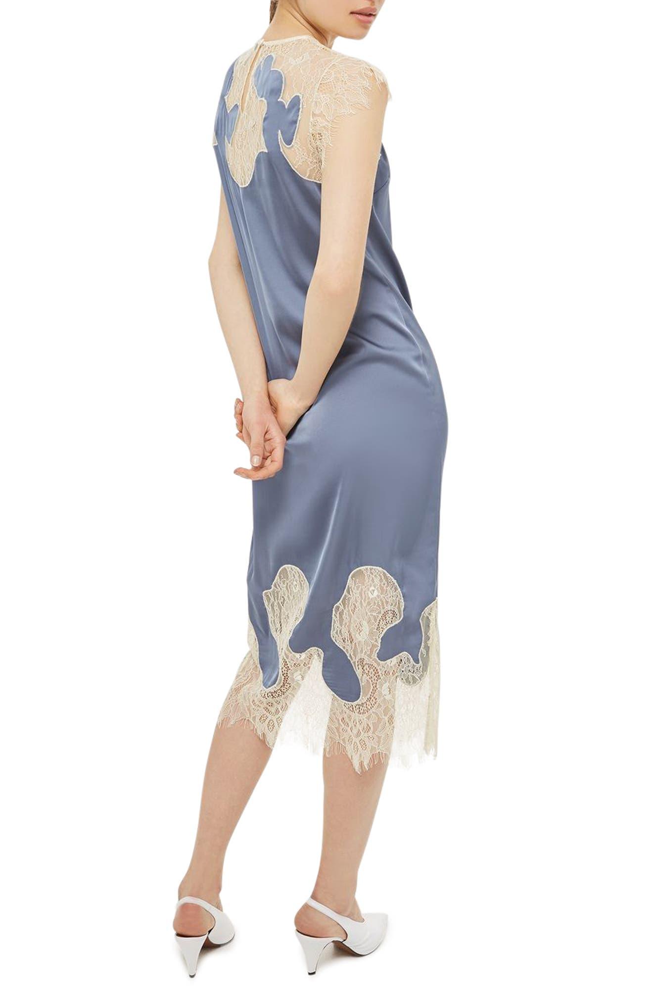 Alternate Image 2  - Topshop Satin & Lace Midi Dress