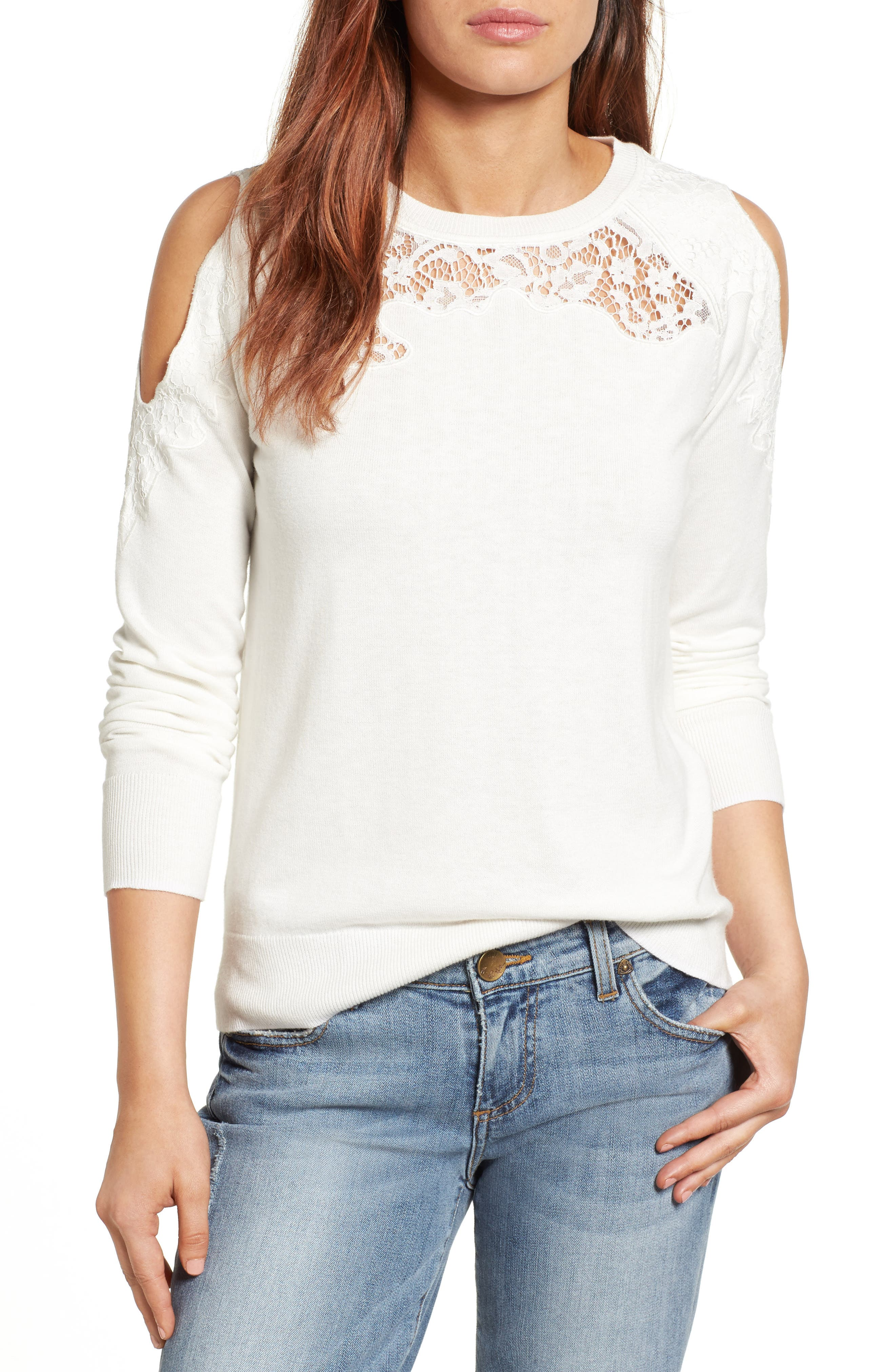 Halogen® Lace Detail Cold Shoulder Sweater (Regular & Petite)