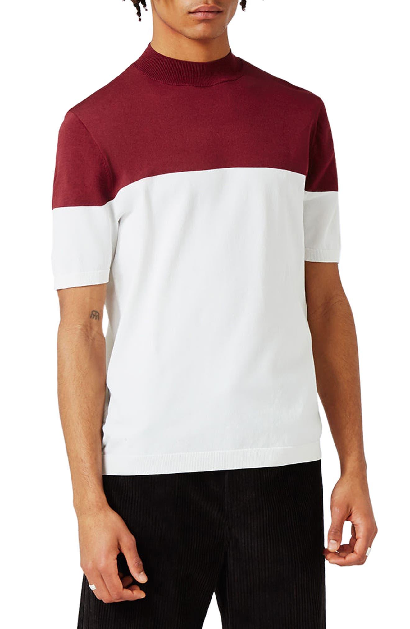 Topman Colorblock Mock Neck Knit T-Shirt
