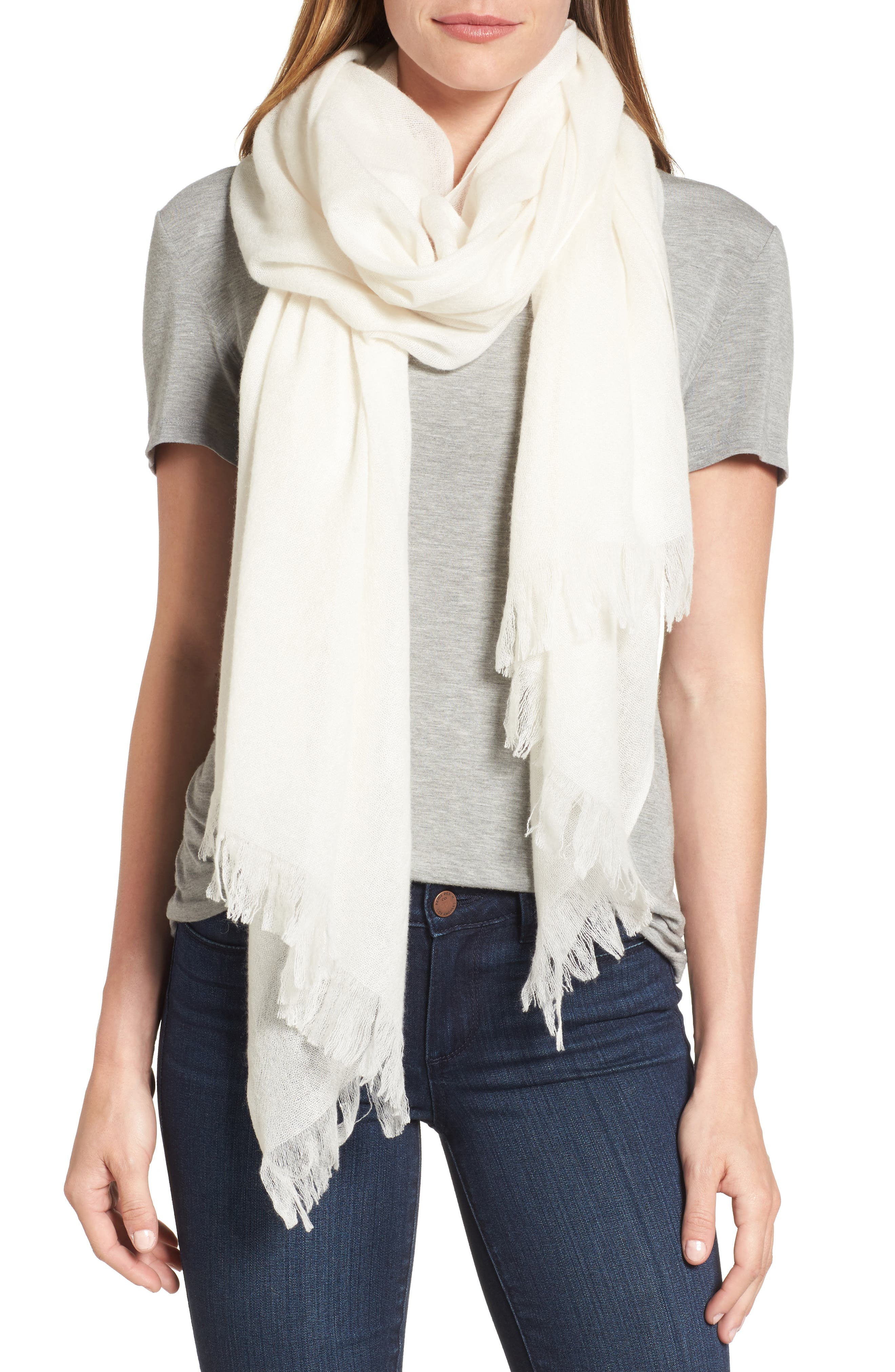 NORDSTROM Caslon® Heathered Cashmere Gauze Scarf